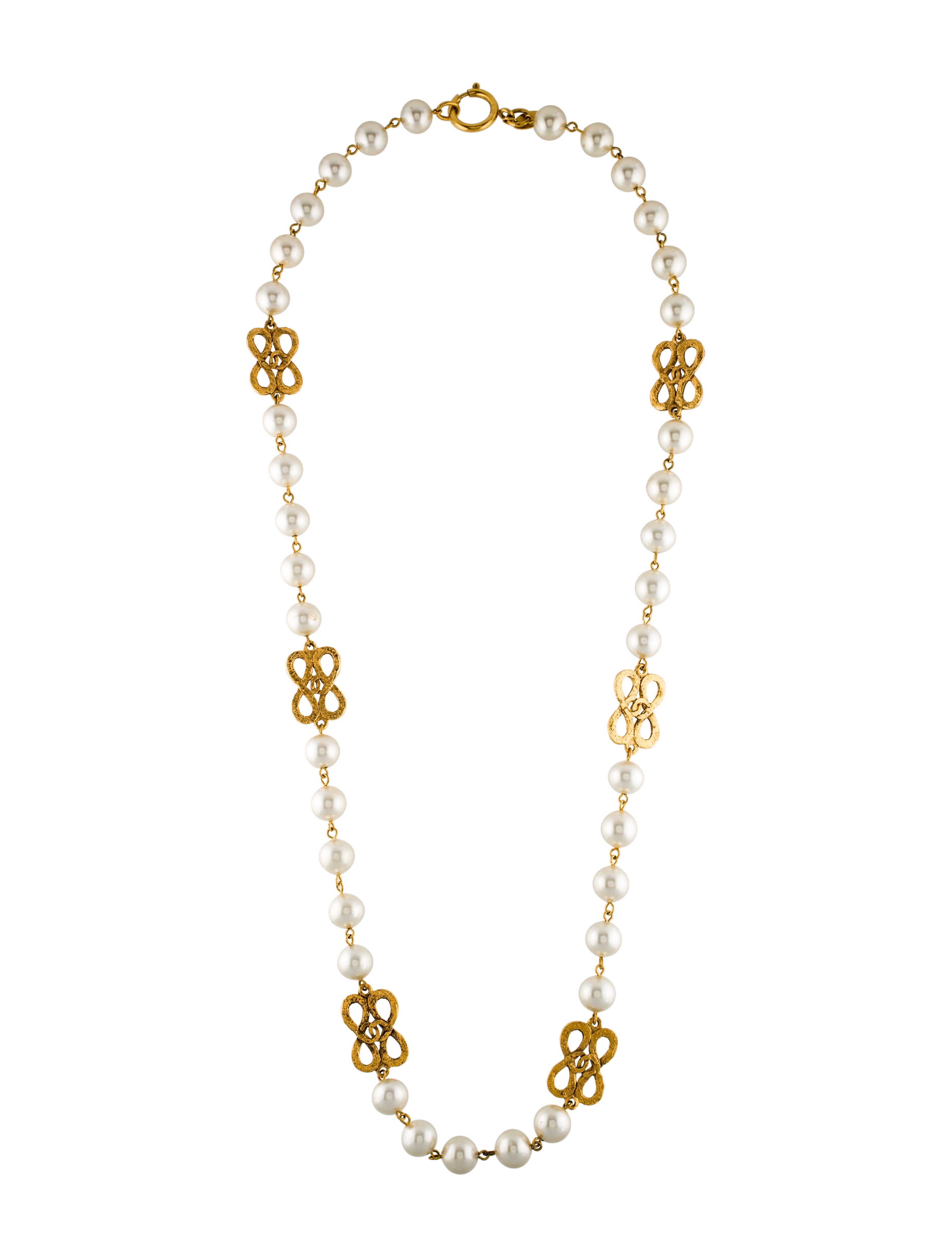 Cc Faux Pearl Necklace