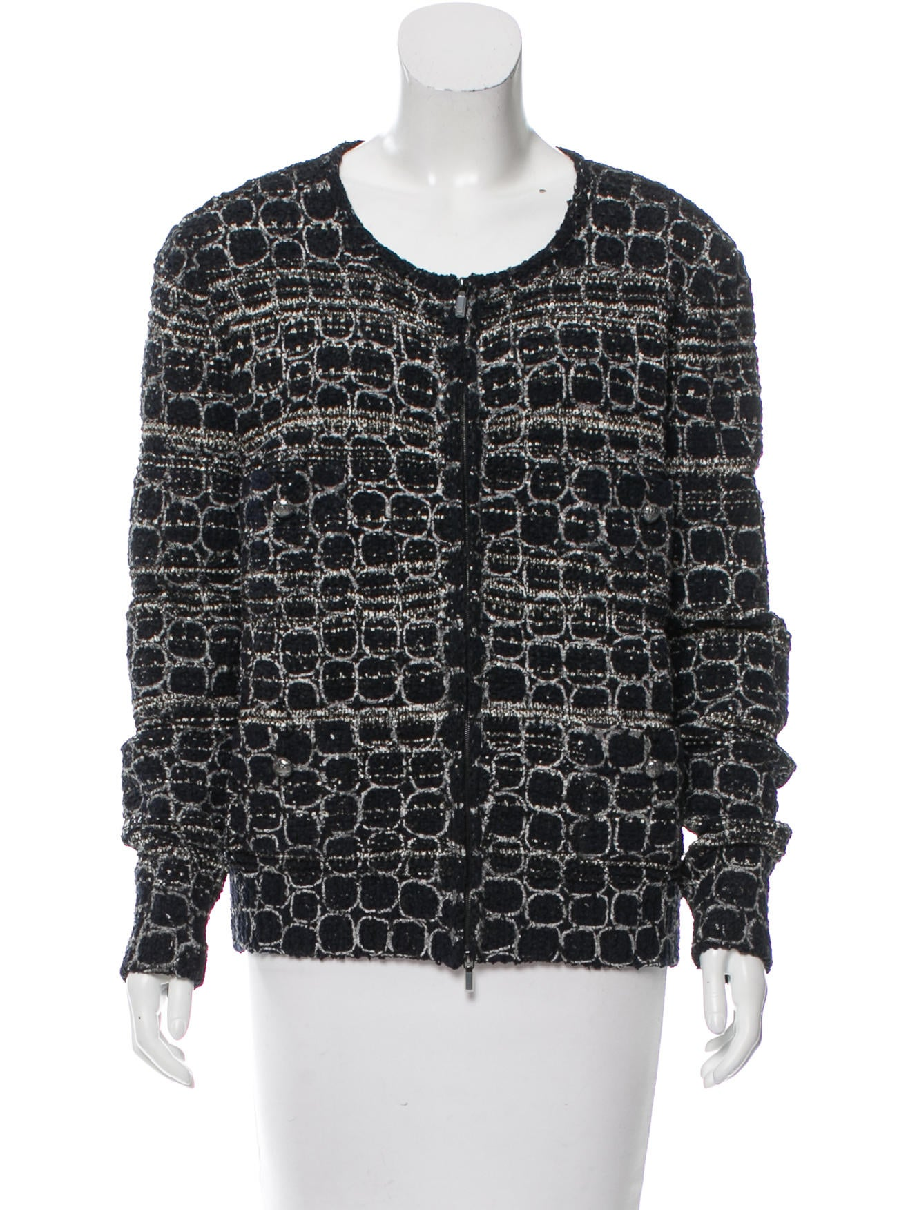 Chanel Knit Printed Jacket - Clothing - CHA162798 The RealReal