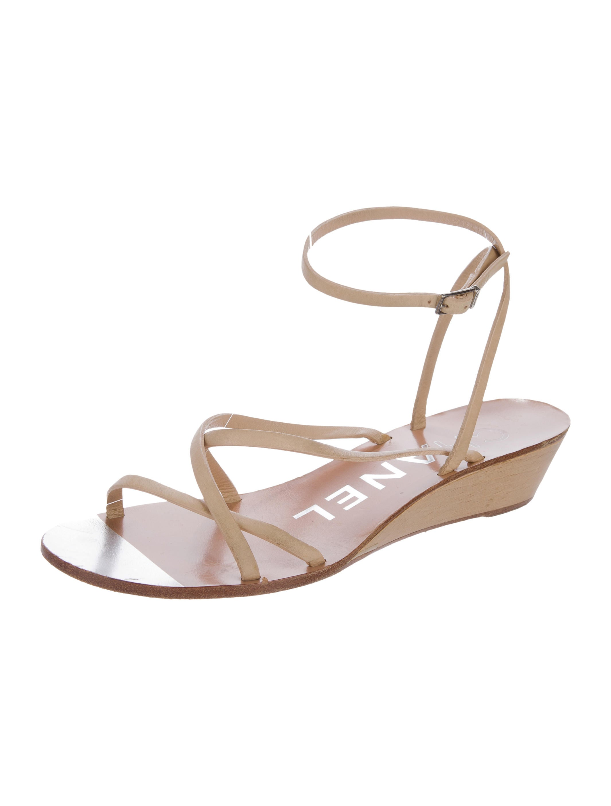 Chanel Leather Wedge Sandals - Shoes - CHA163059 | The RealReal