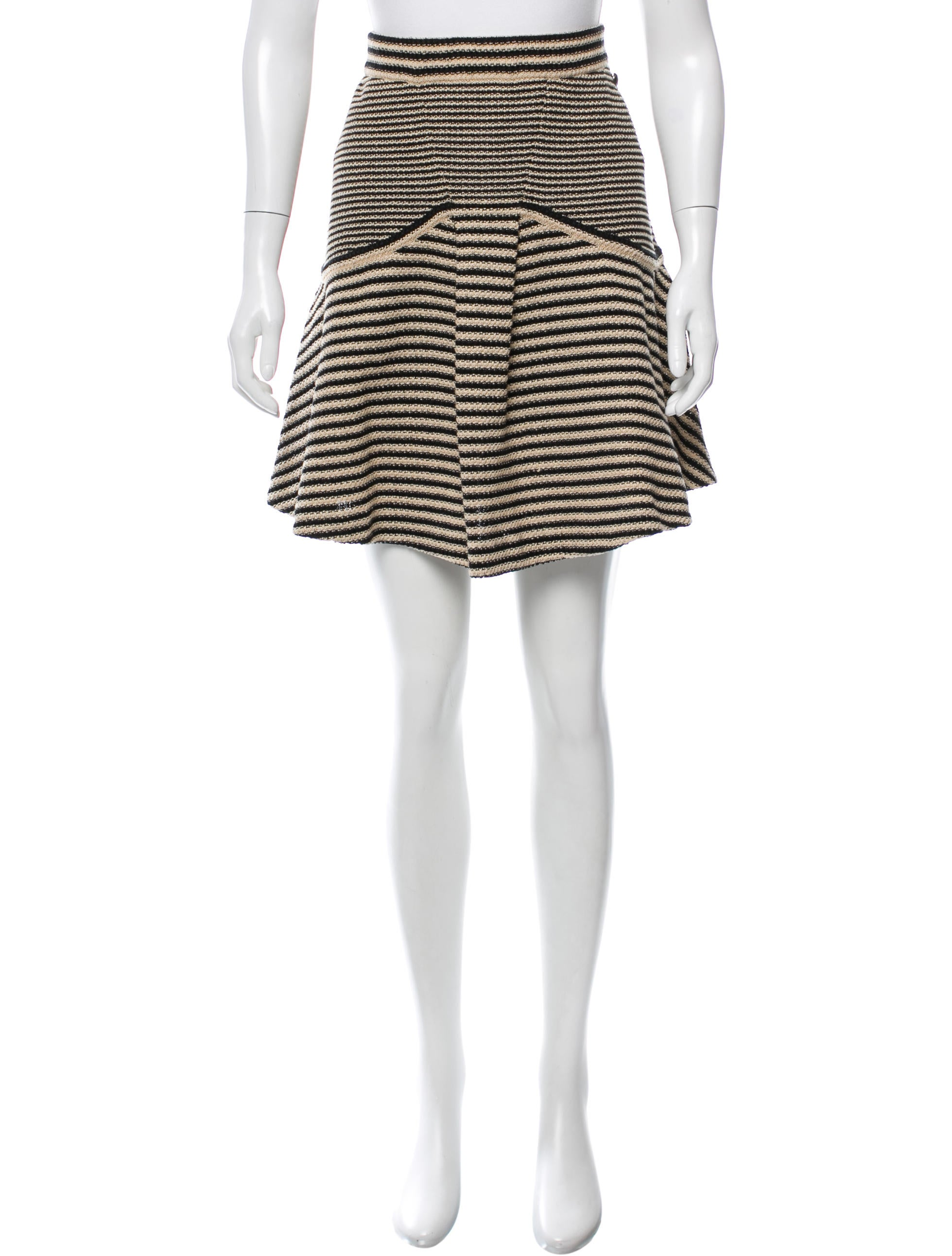 chanel striped a line skirt clothing cha163095 the