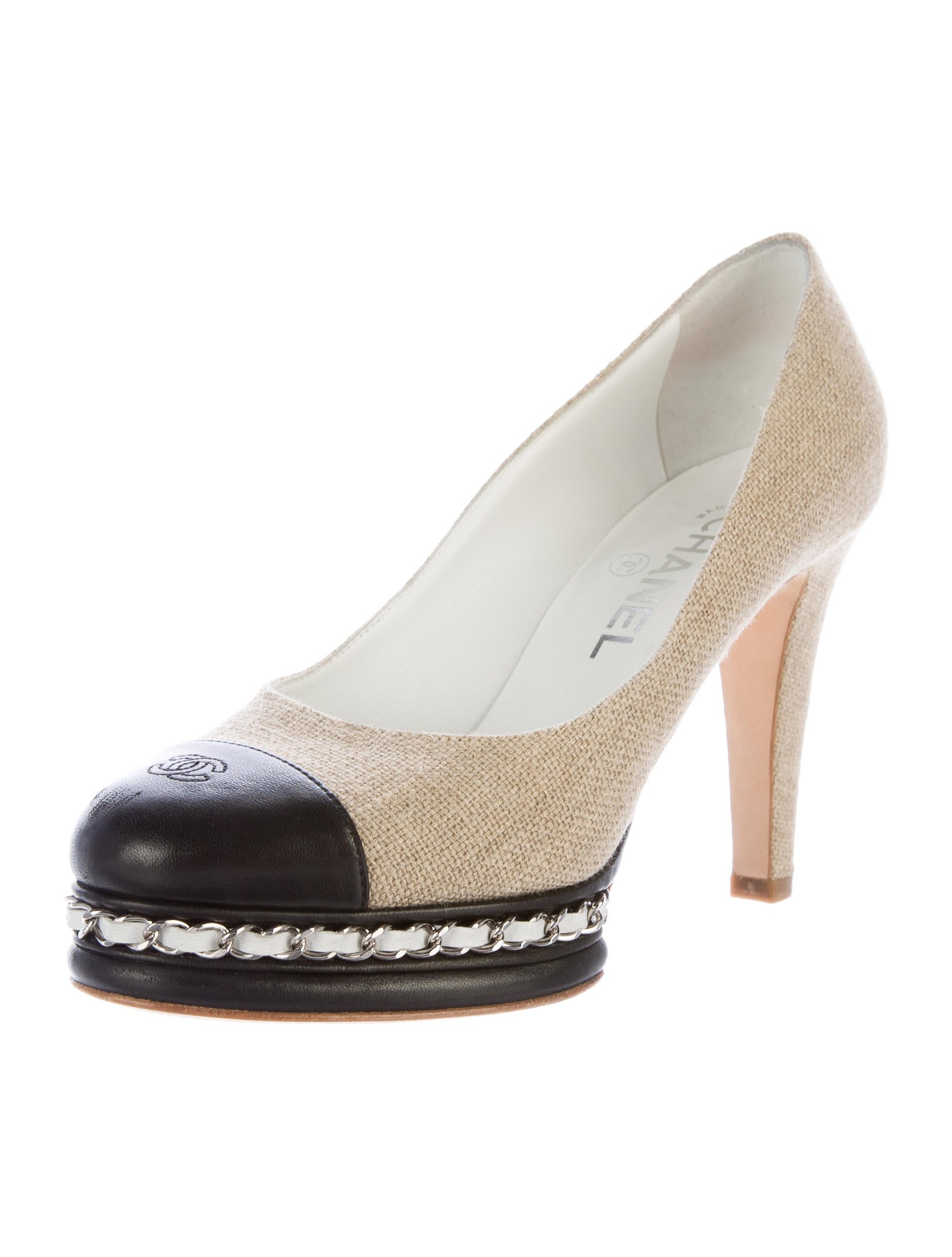 chanel canvas chain link pumps shoes cha163118 the