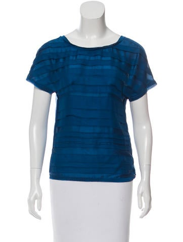 Chanel Silk Tiered-Accented Top None