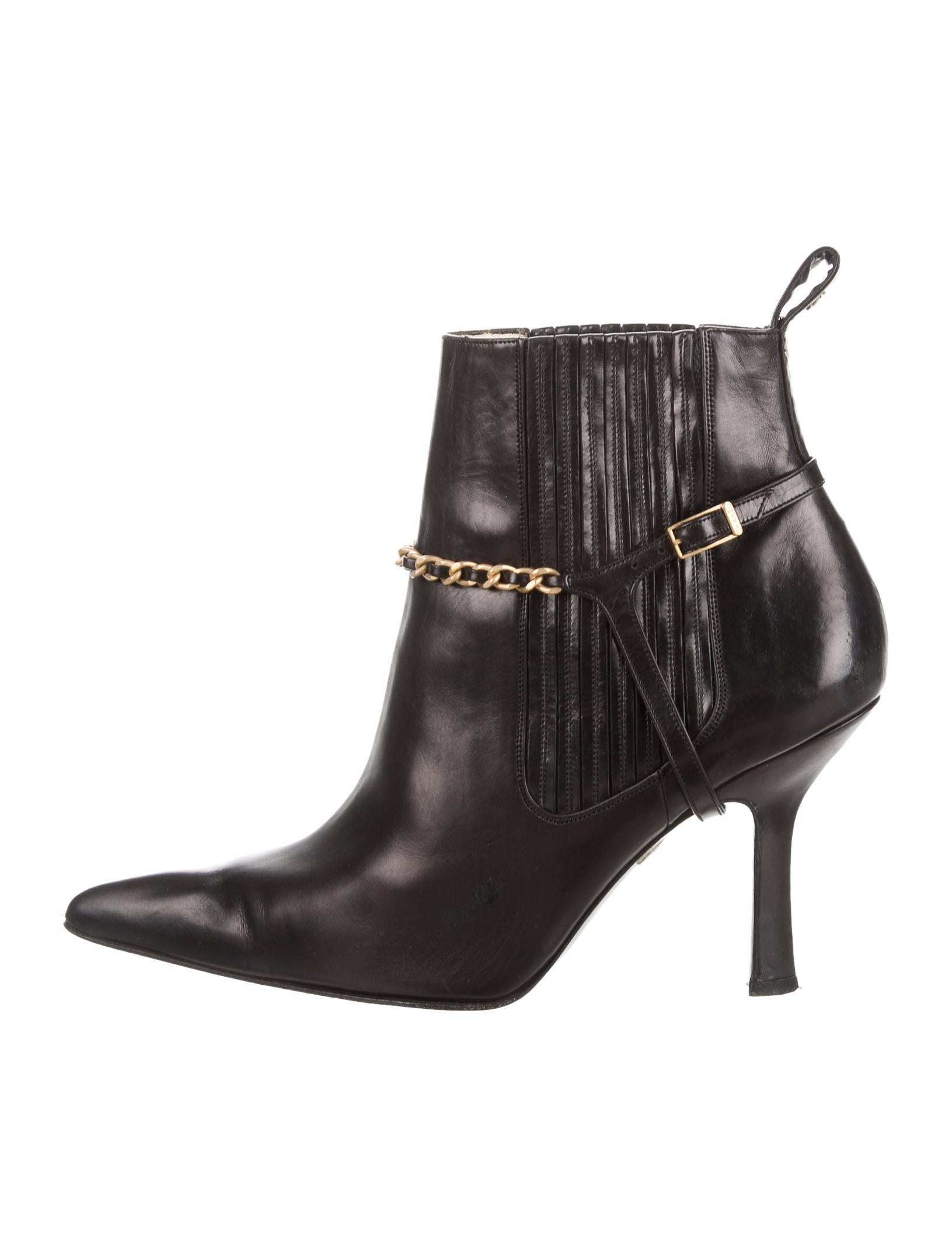 chanel leather pointed toe booties shoes cha163377