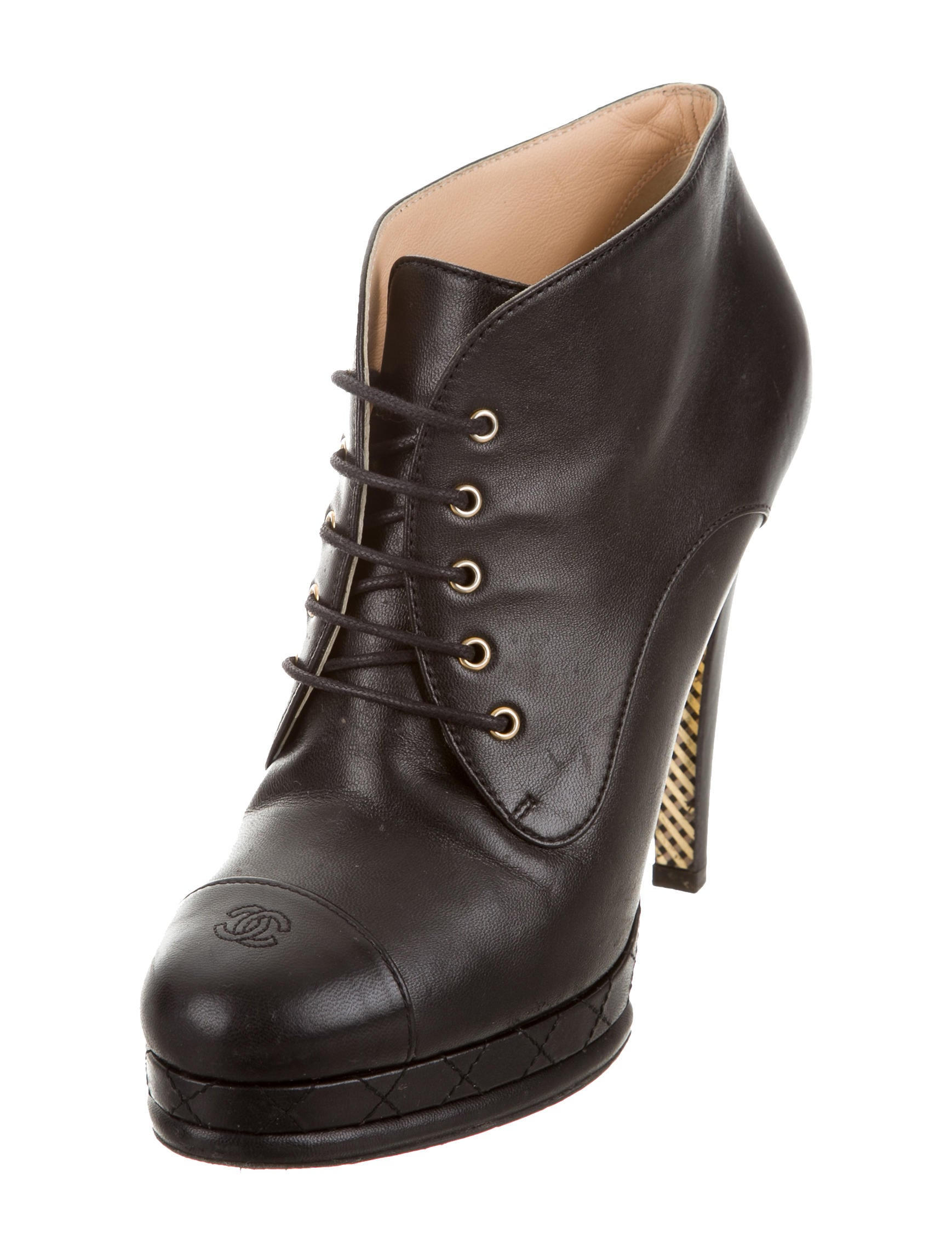 Chanel Lace Up Ankle Boots Shoes Cha163753 The Realreal