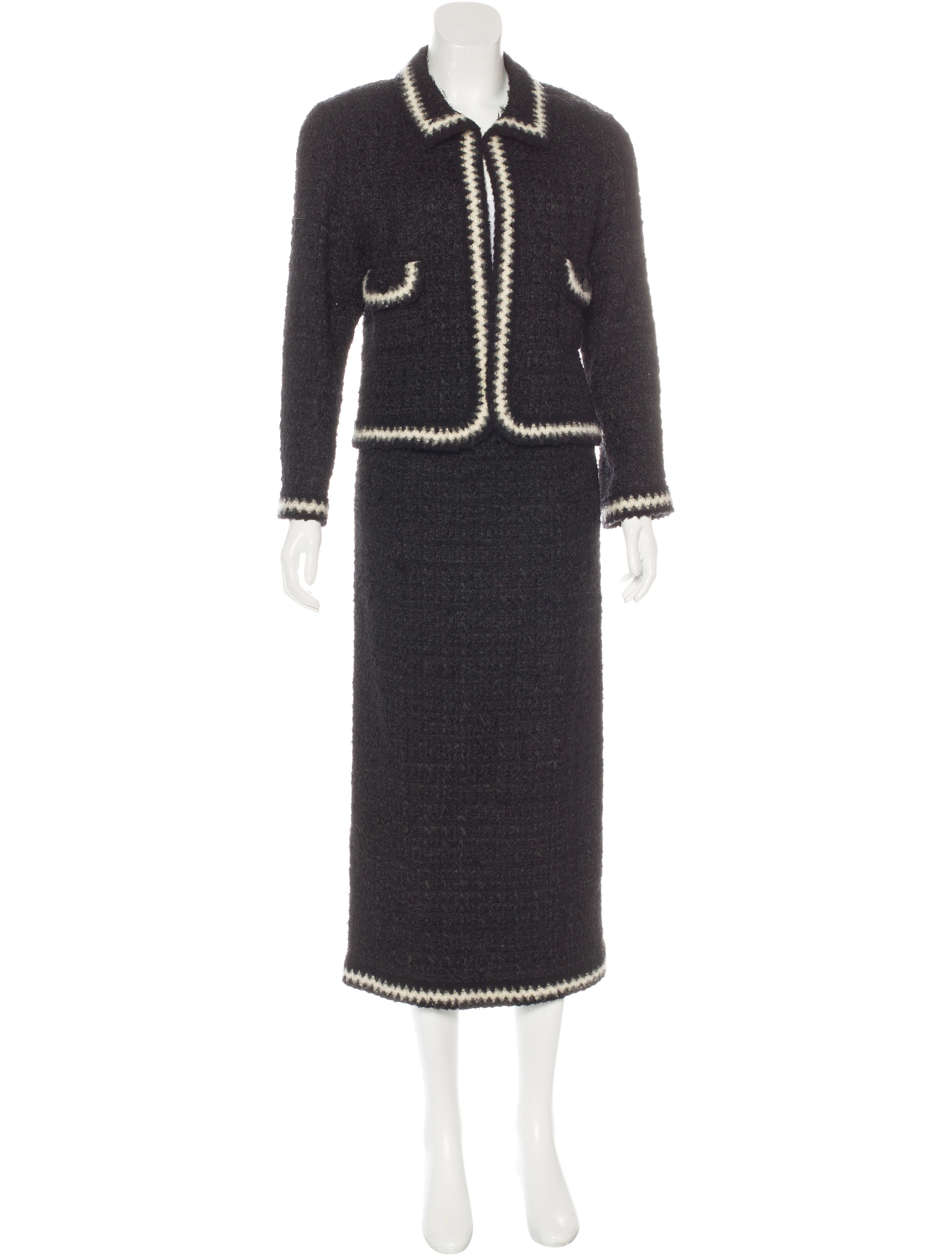 chanel tweed midi skirt suit clothing cha163990 the