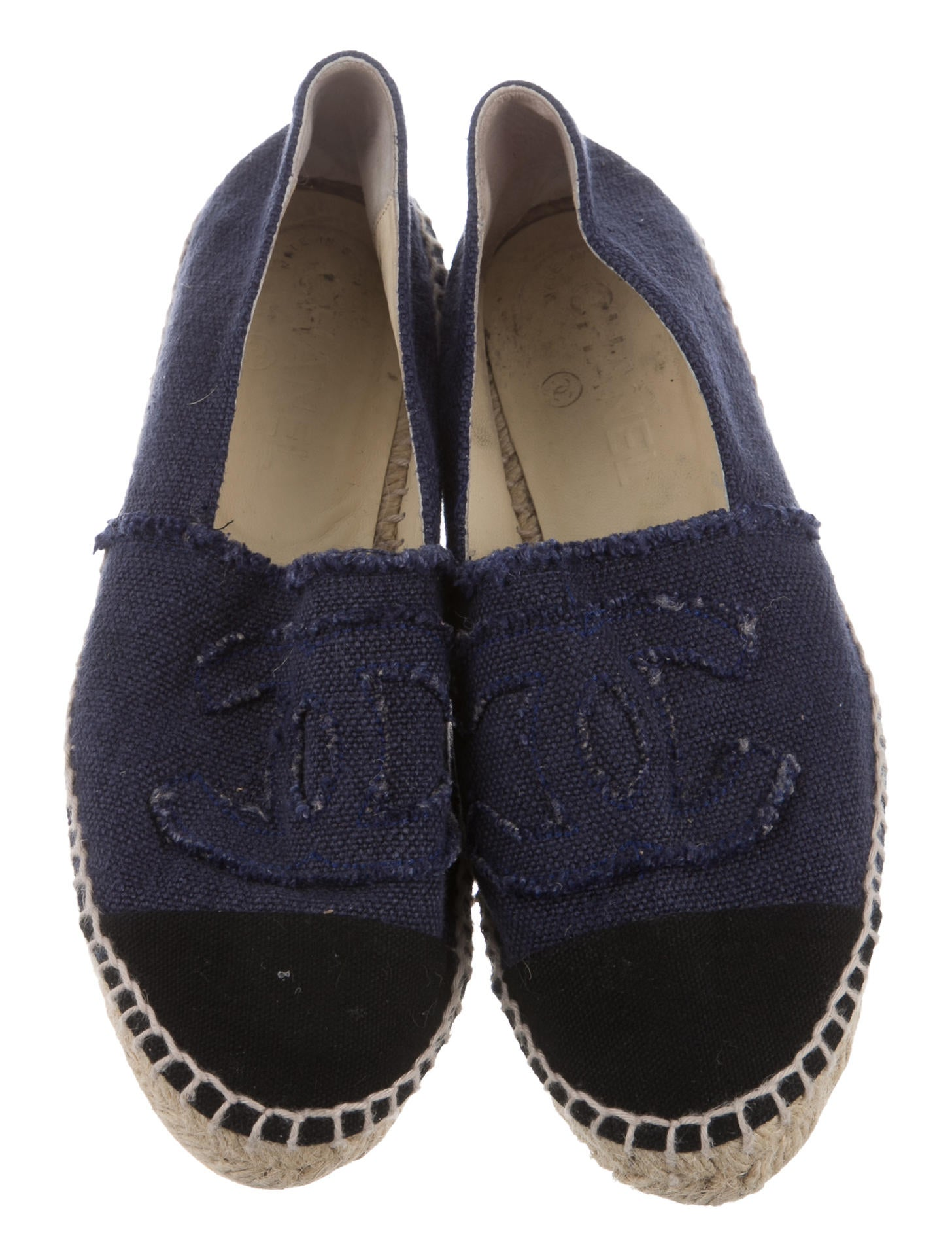 chanel canvas espadrille flats shoes cha164009 the
