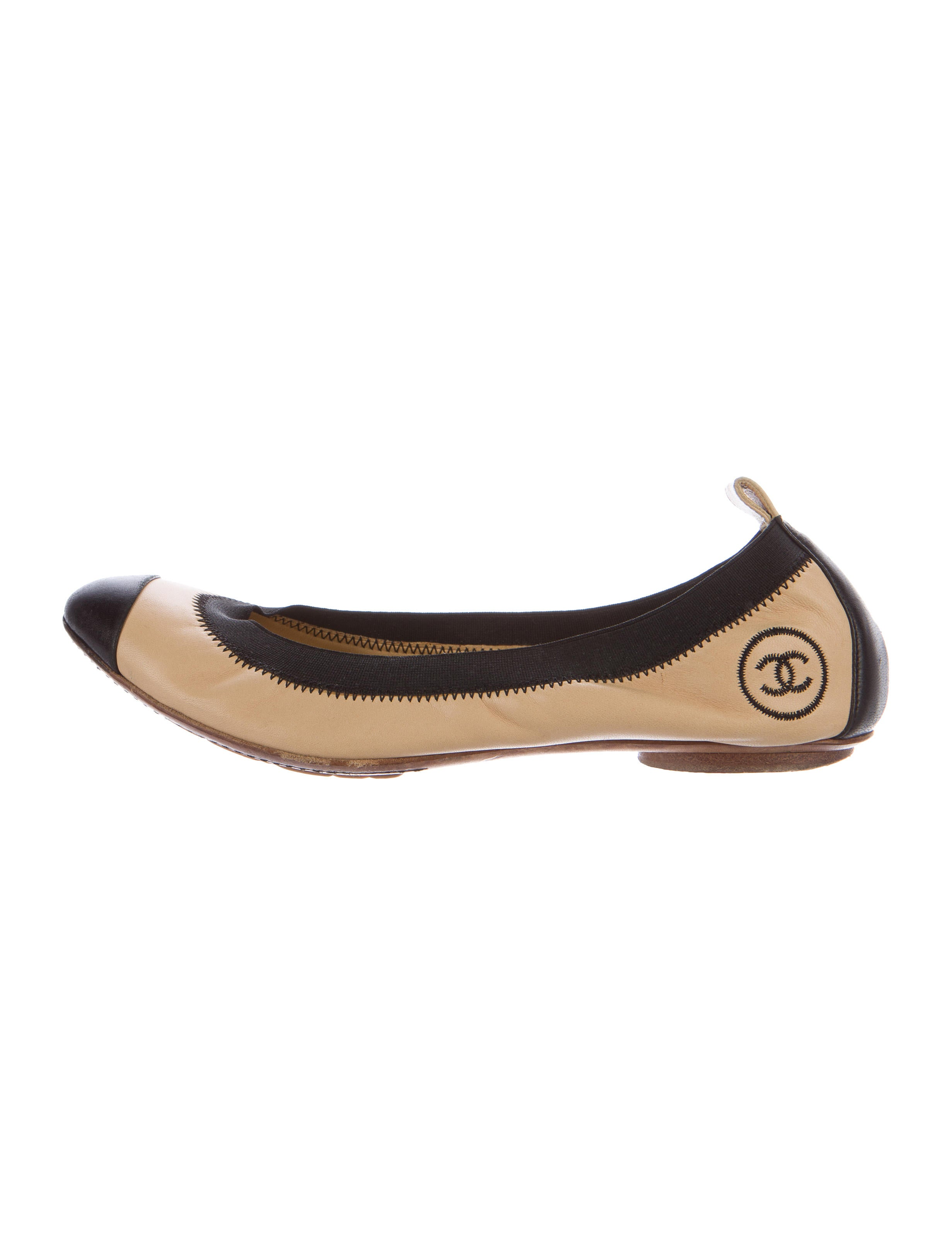 chanel stretch spirit leather flats shoes cha164460