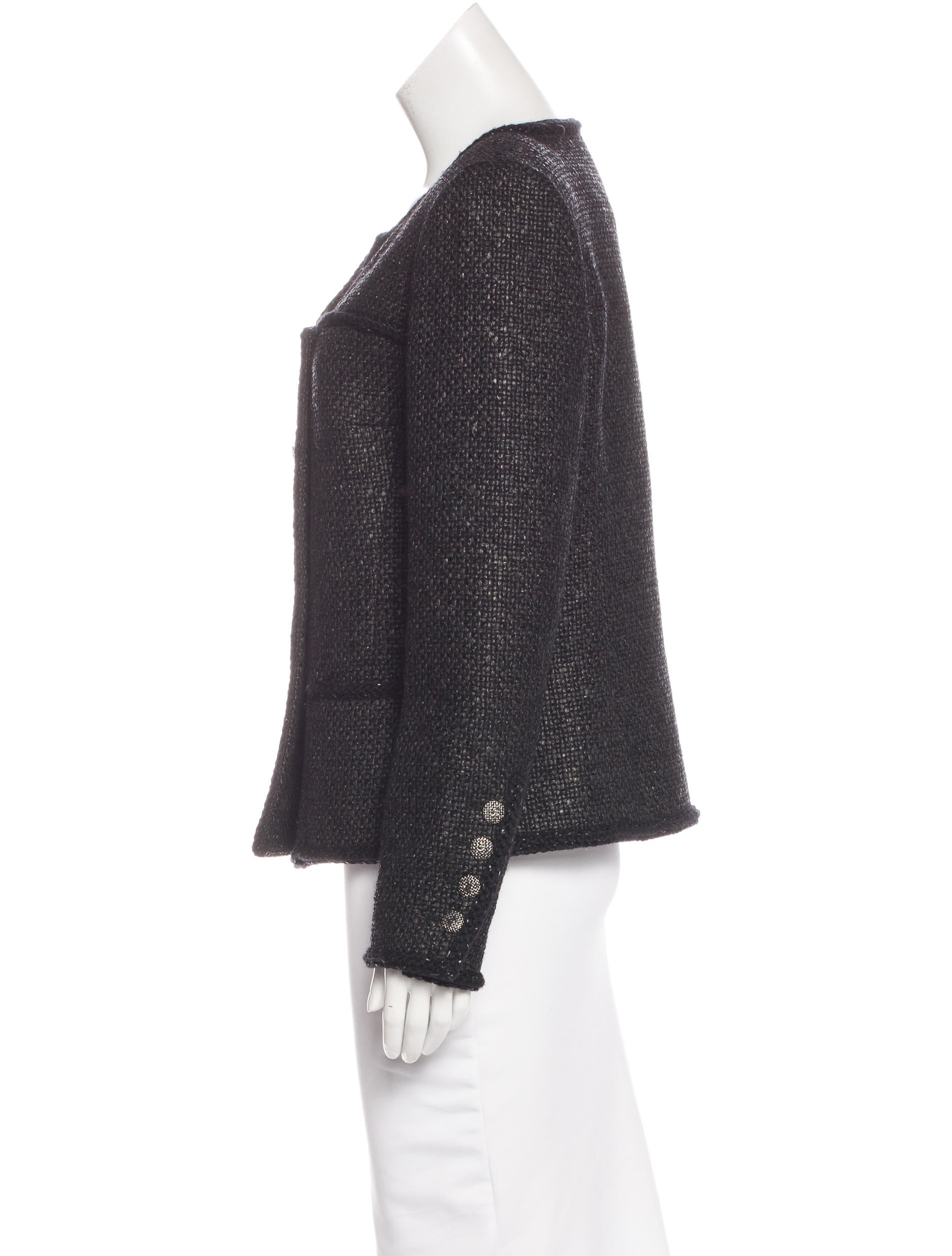 chanel 2014 collarless tweed jacket clothing cha164594