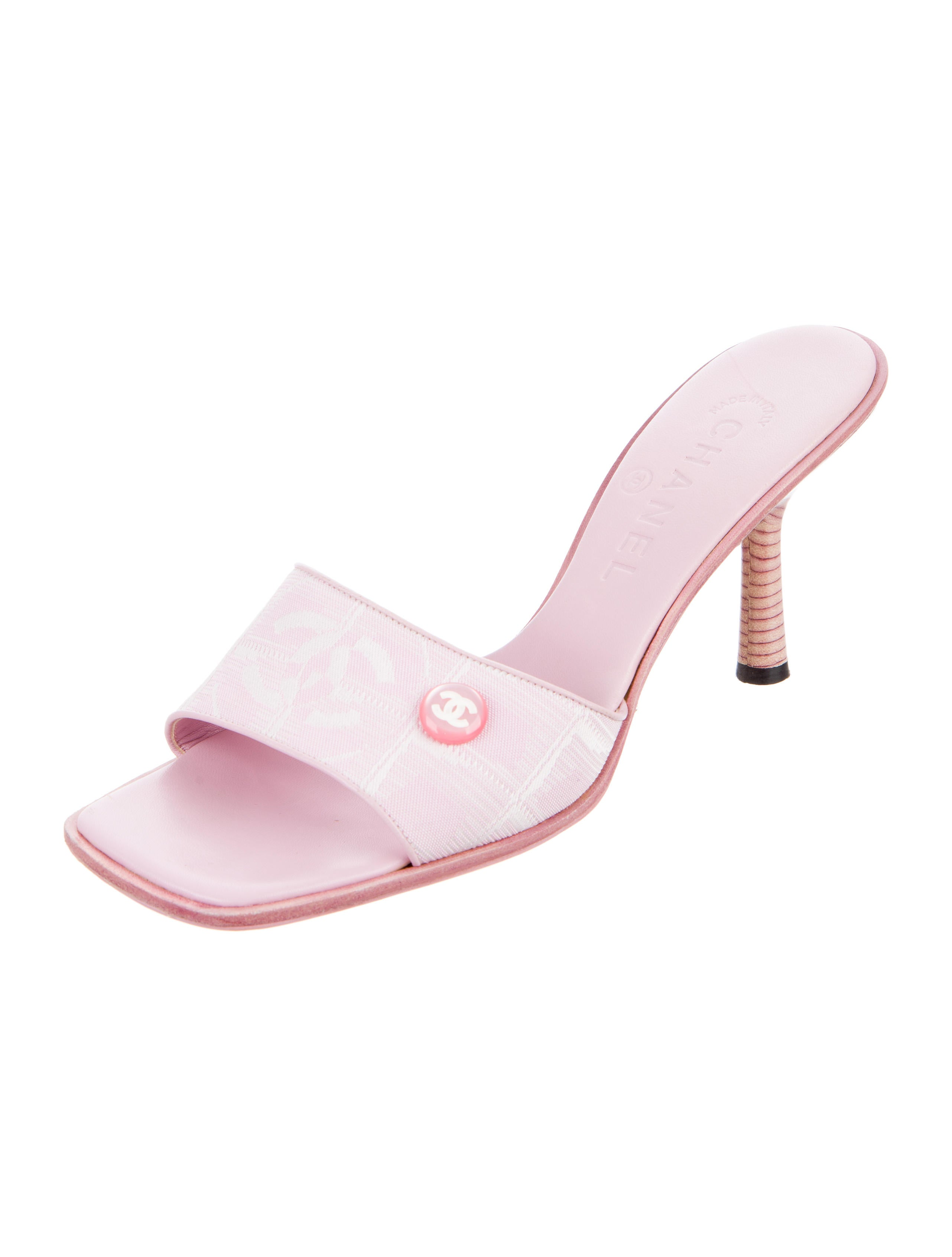 chanel canvas slide sandals shoes cha164684 the realreal
