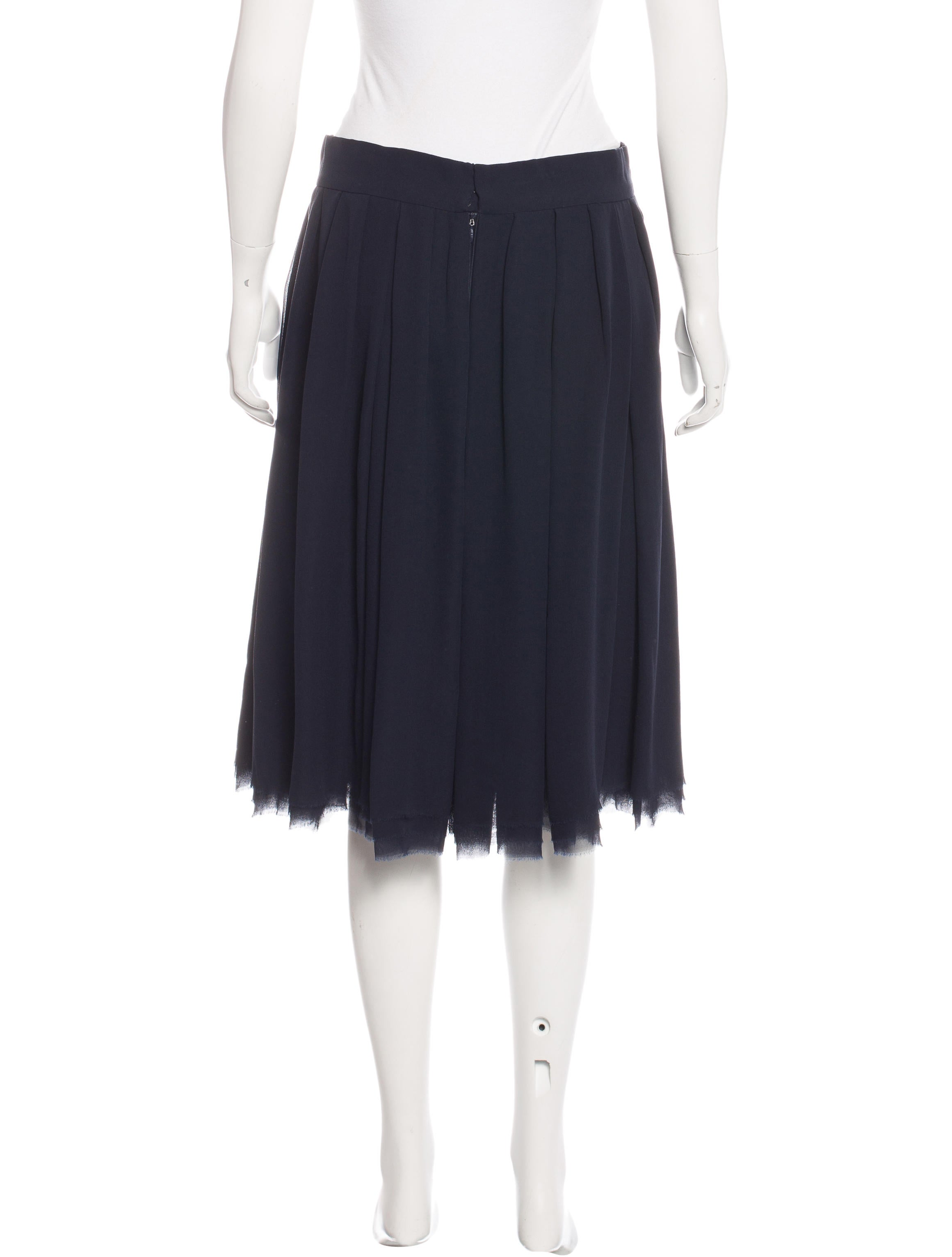 chanel silk pleated skirt clothing cha165055 the