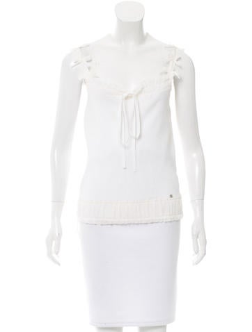 Chanel Silk-Trimmed Sleeveless Top None