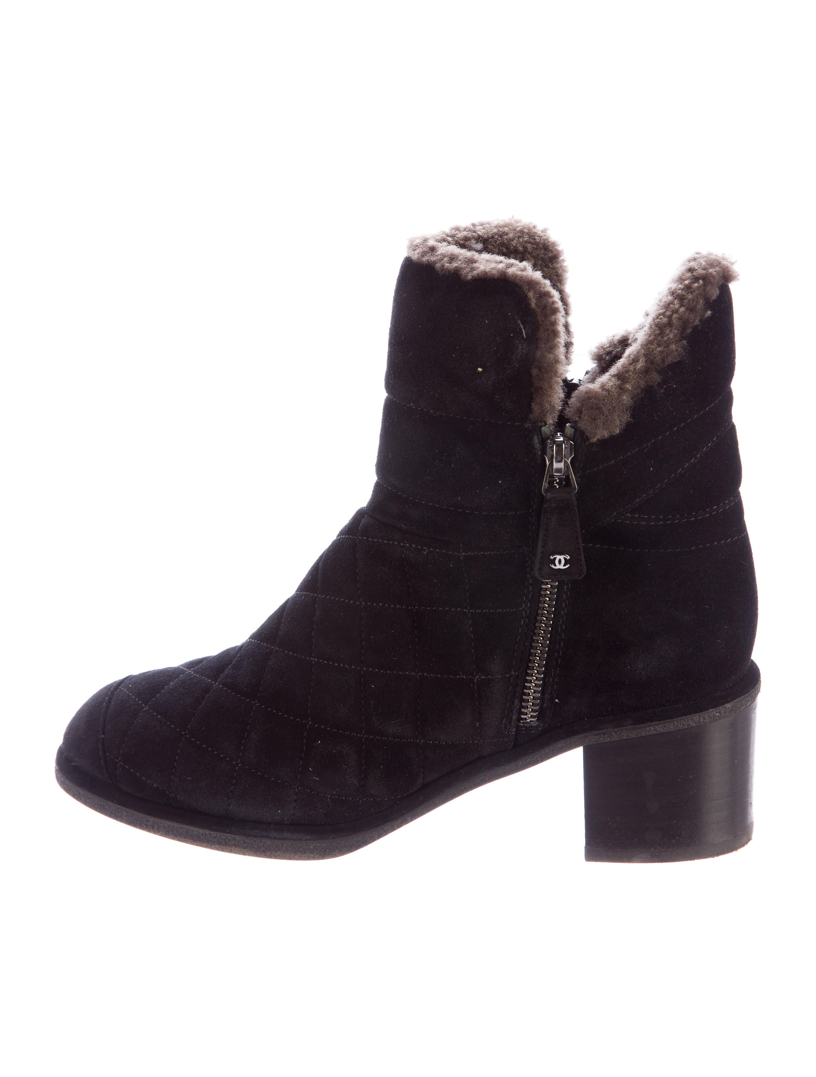 chanel quilted suede ankle boots shoes cha165658 the