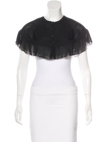Chanel Ruffle-Trimmed Rib Knit Capelet None