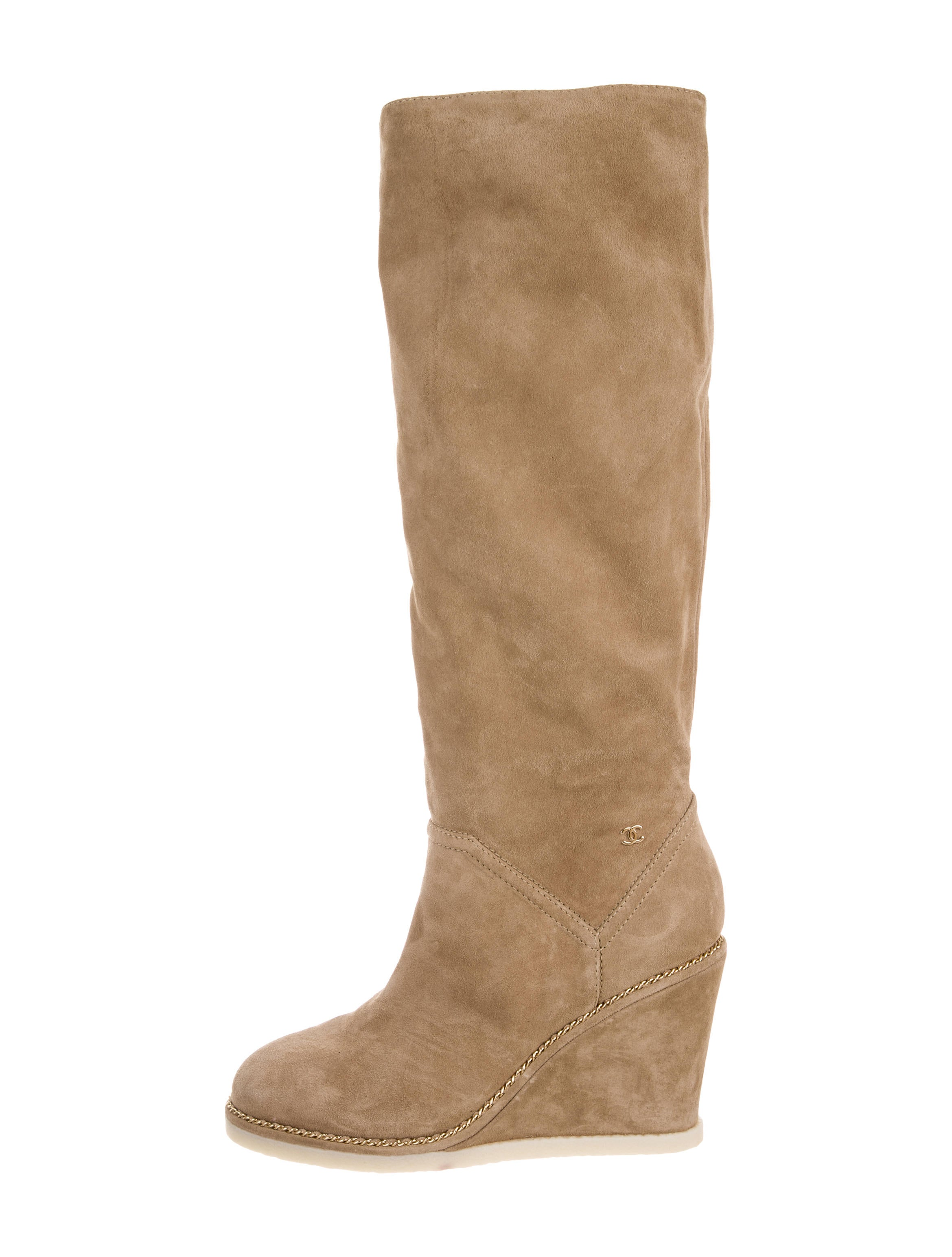 chanel knee high suede boots shoes cha166193 the