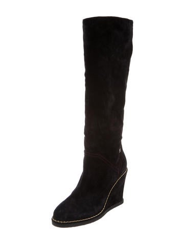 chanel knee high wedge boots shoes cha166275 the
