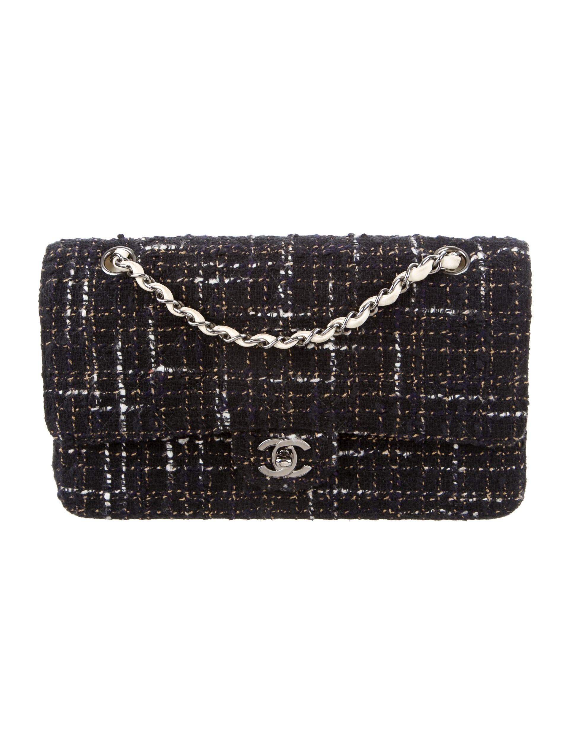 chanel tweed classic medium flap bag handbags
