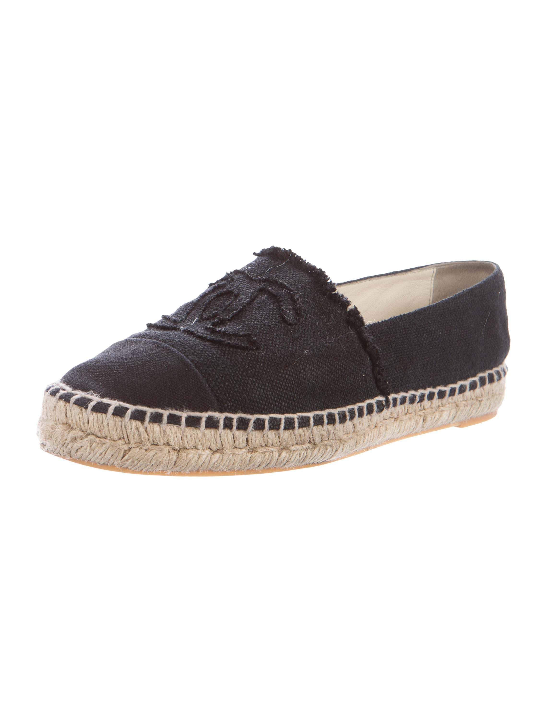 chanel canvas espadrille flats shoes cha166665 the