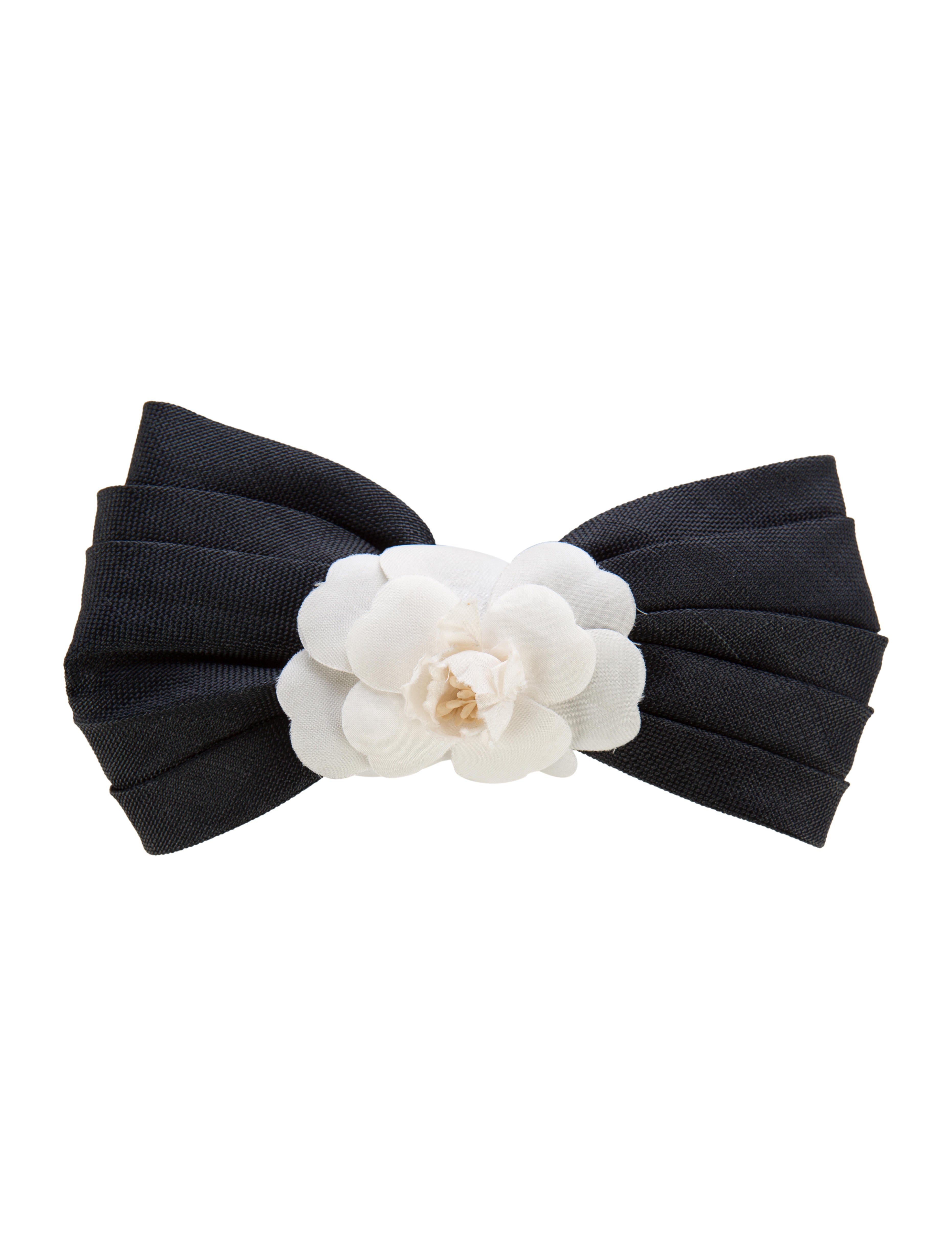 Black bow hair accessories - Camellia Hair Clip