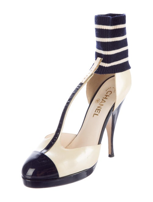 22a713a75ab1 Chanel Ankle Sock T-Strap Pumps - Shoes - CHA168197