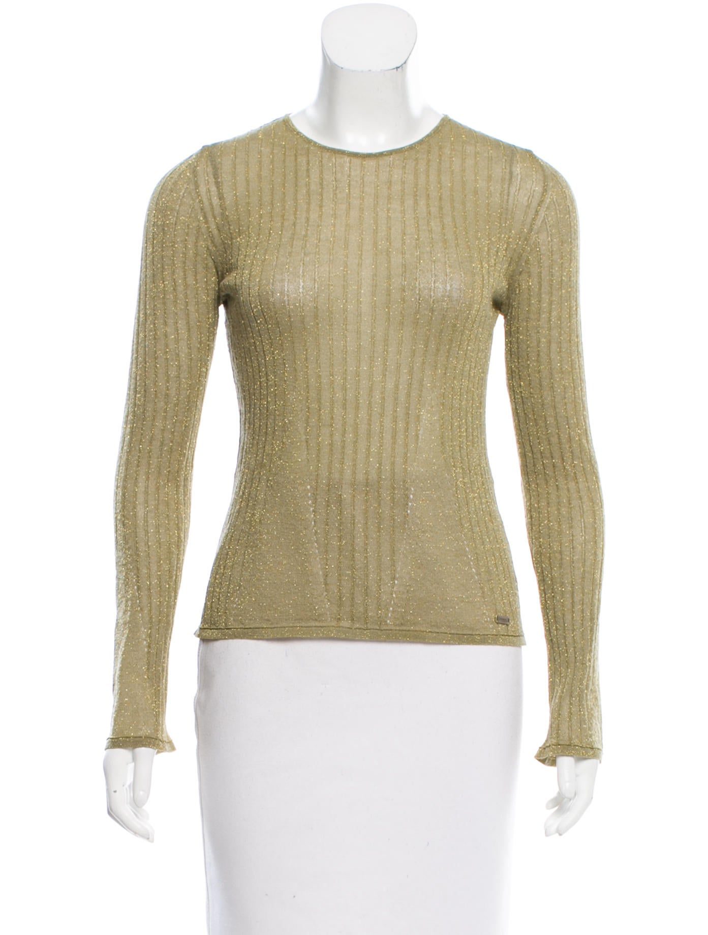 Chanel wool metallic top clothing cha168272 the realreal for Best wool shirt jackets