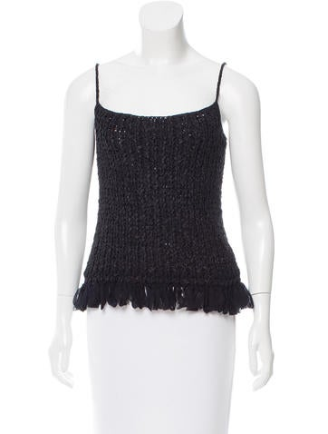 Chanel Fringed Knit Top None