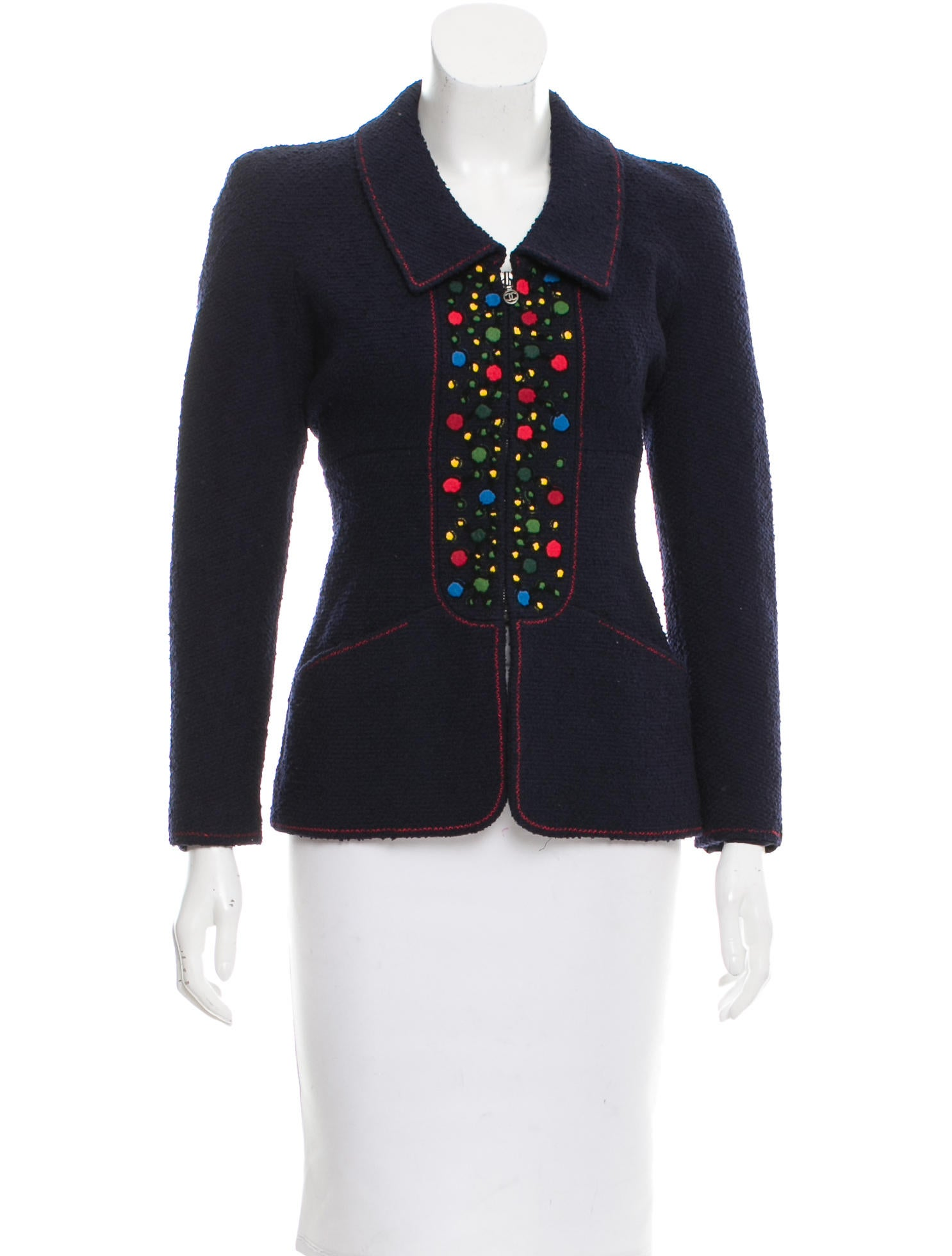 Chanel wool embroidered jacket clothing cha