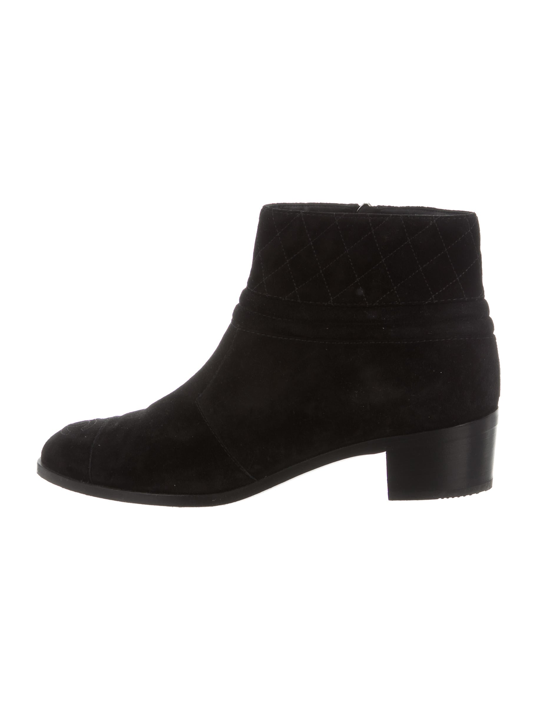 chanel suede ankle boots shoes cha169028 the realreal