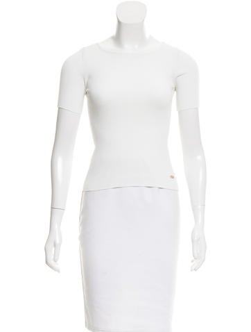 Chanel Ribbed Short Sleeve Top None