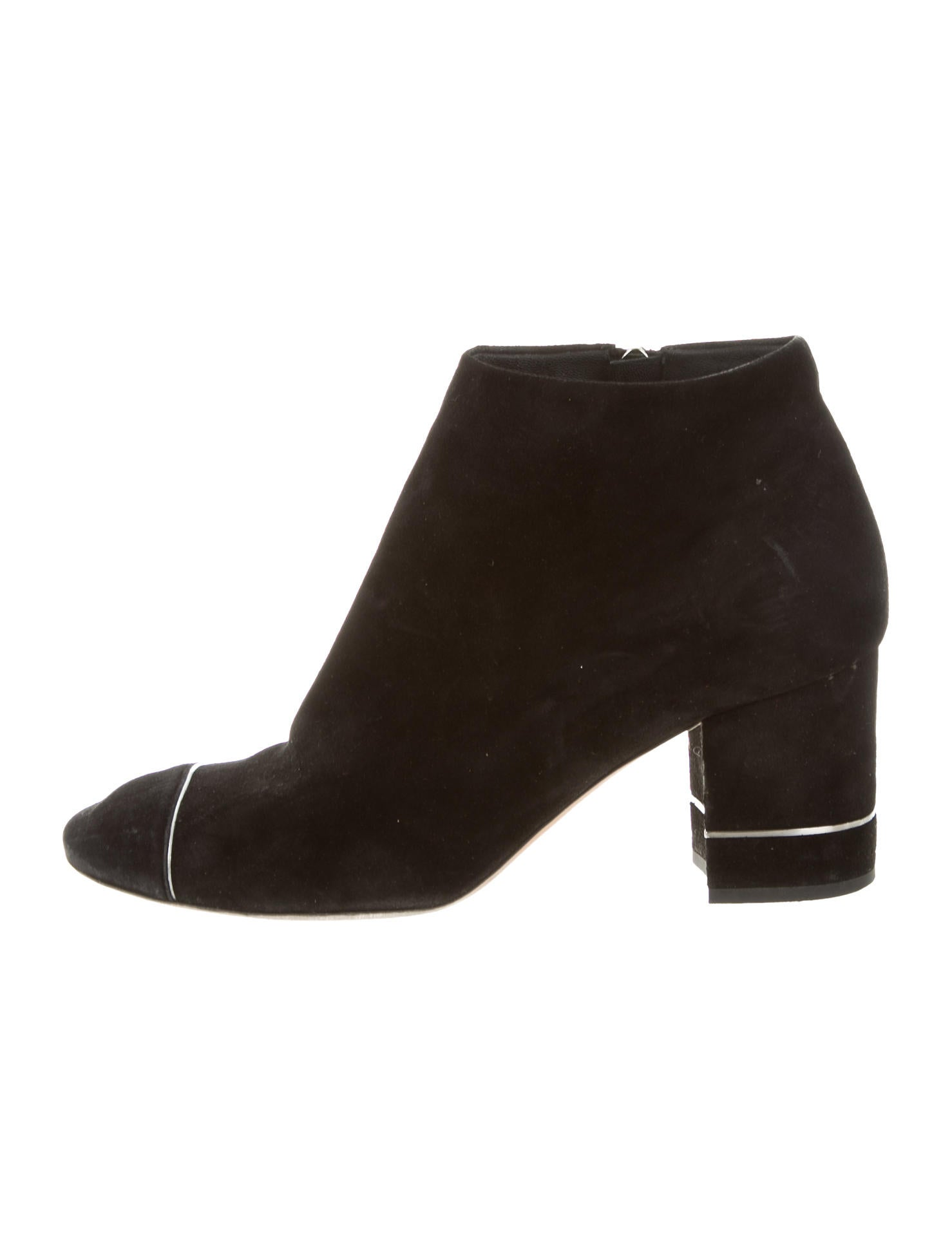 chanel cc suede ankle boots shoes cha169763 the realreal