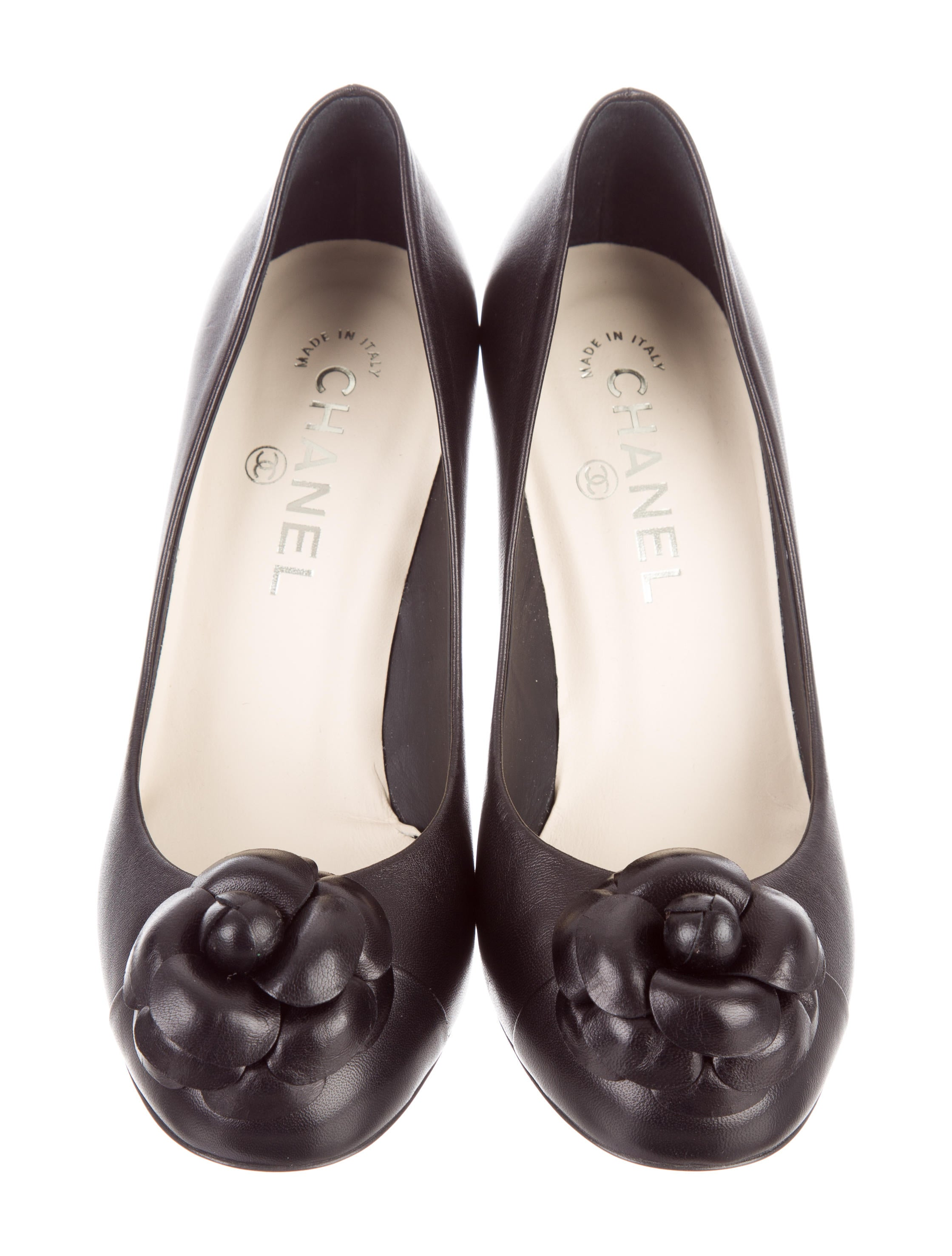 Chanel Camellia Cap Toe Pumps Shoes CHA170058 The  : CHA1700583enlarged from www.therealreal.com size 2239 x 2953 jpeg 394kB