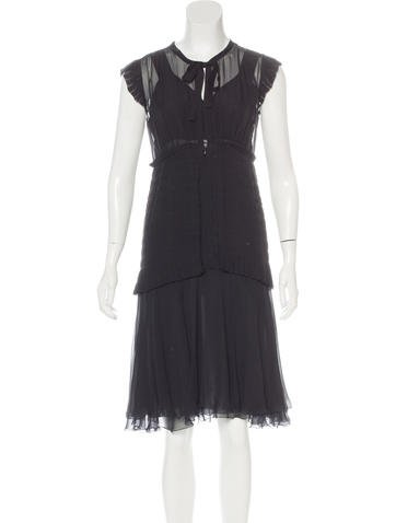 Chanel Pleated Silk Dress None