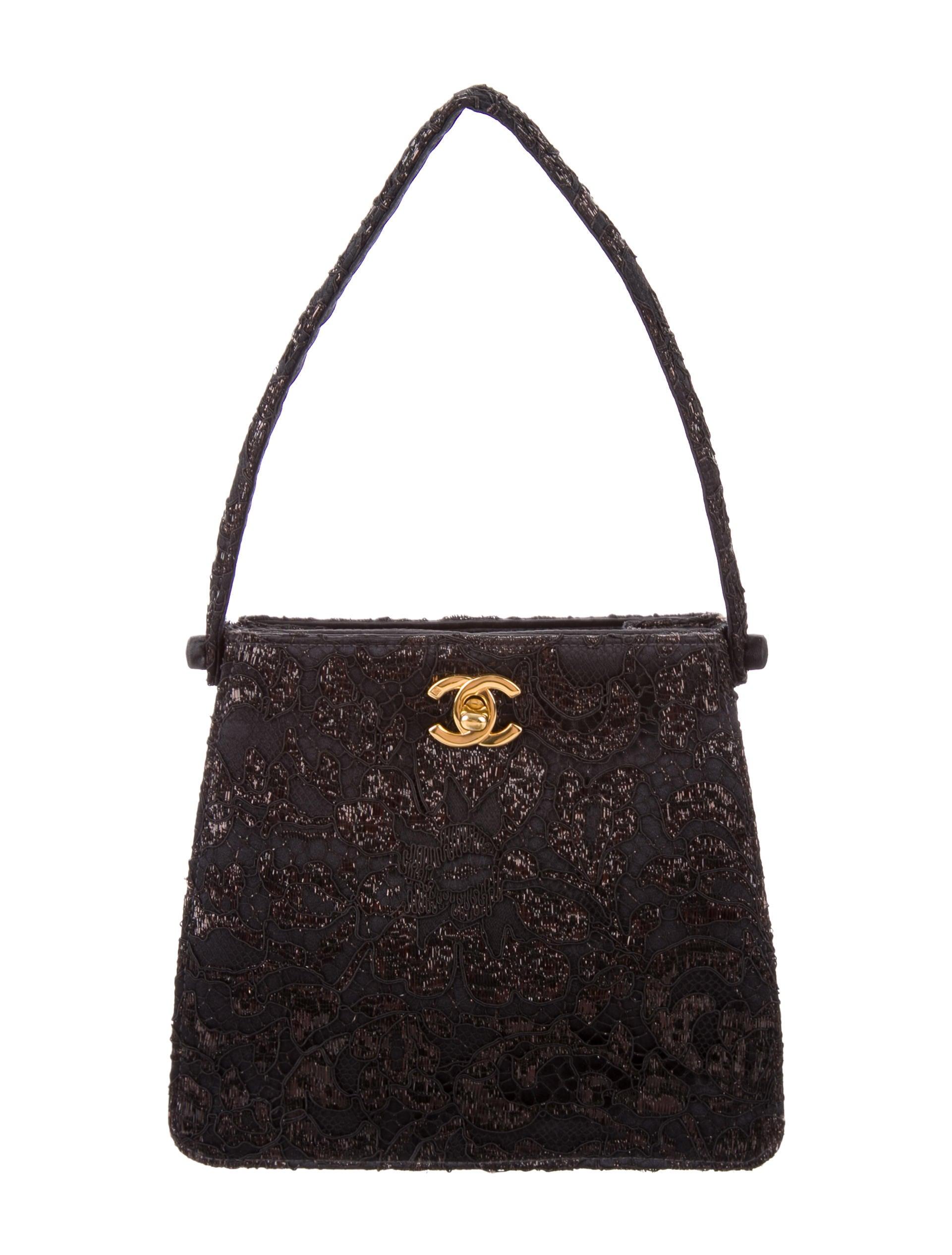 chanel lace evening bag handbags cha172741 the realreal