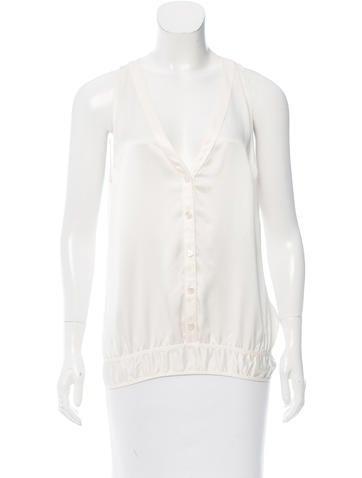 Chanel Sleeveless Silk Top None