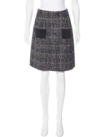 Chanel Wool Plaid Skirt None