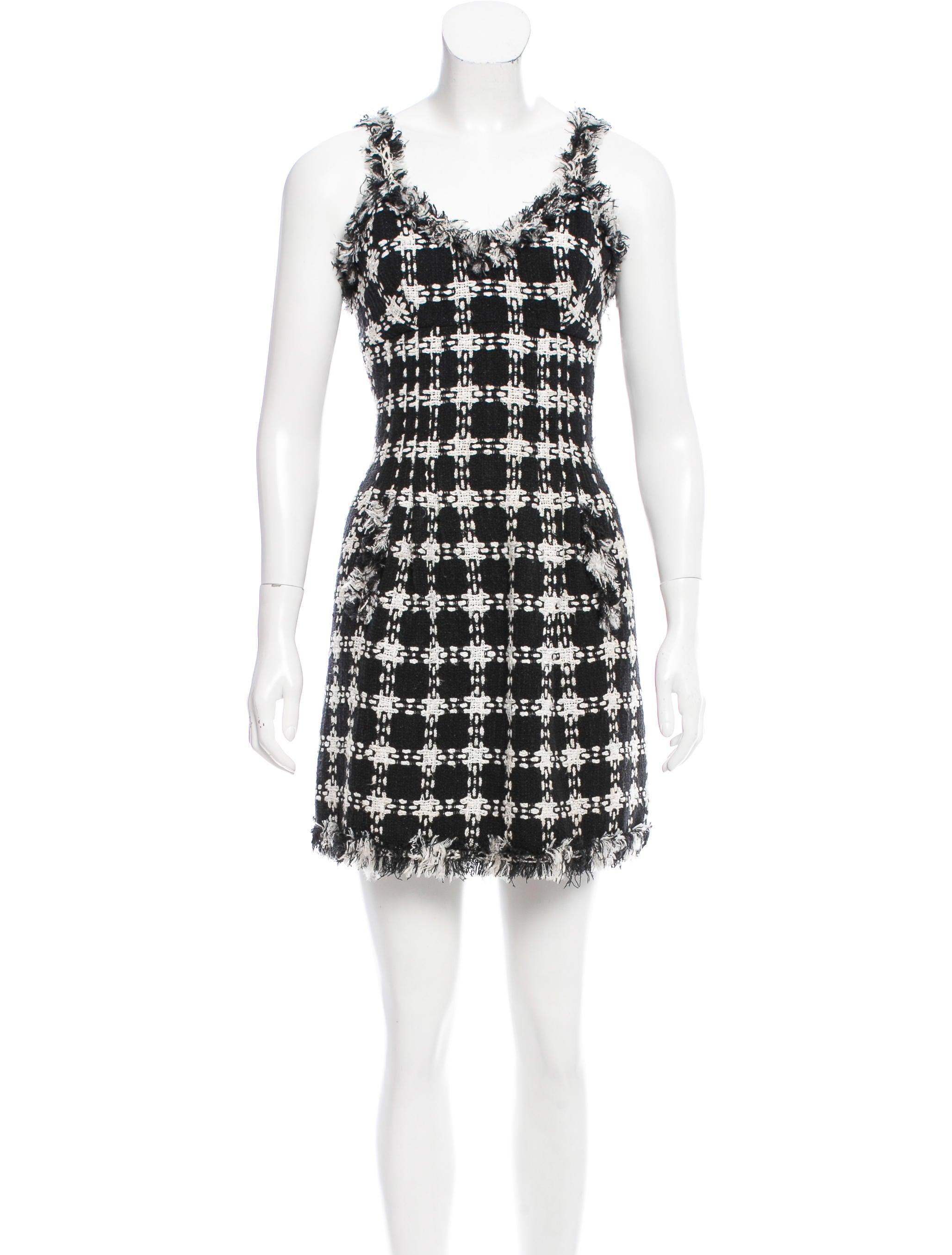 Chanel Sleeveless Tweed Dress - Clothing - CHA173530