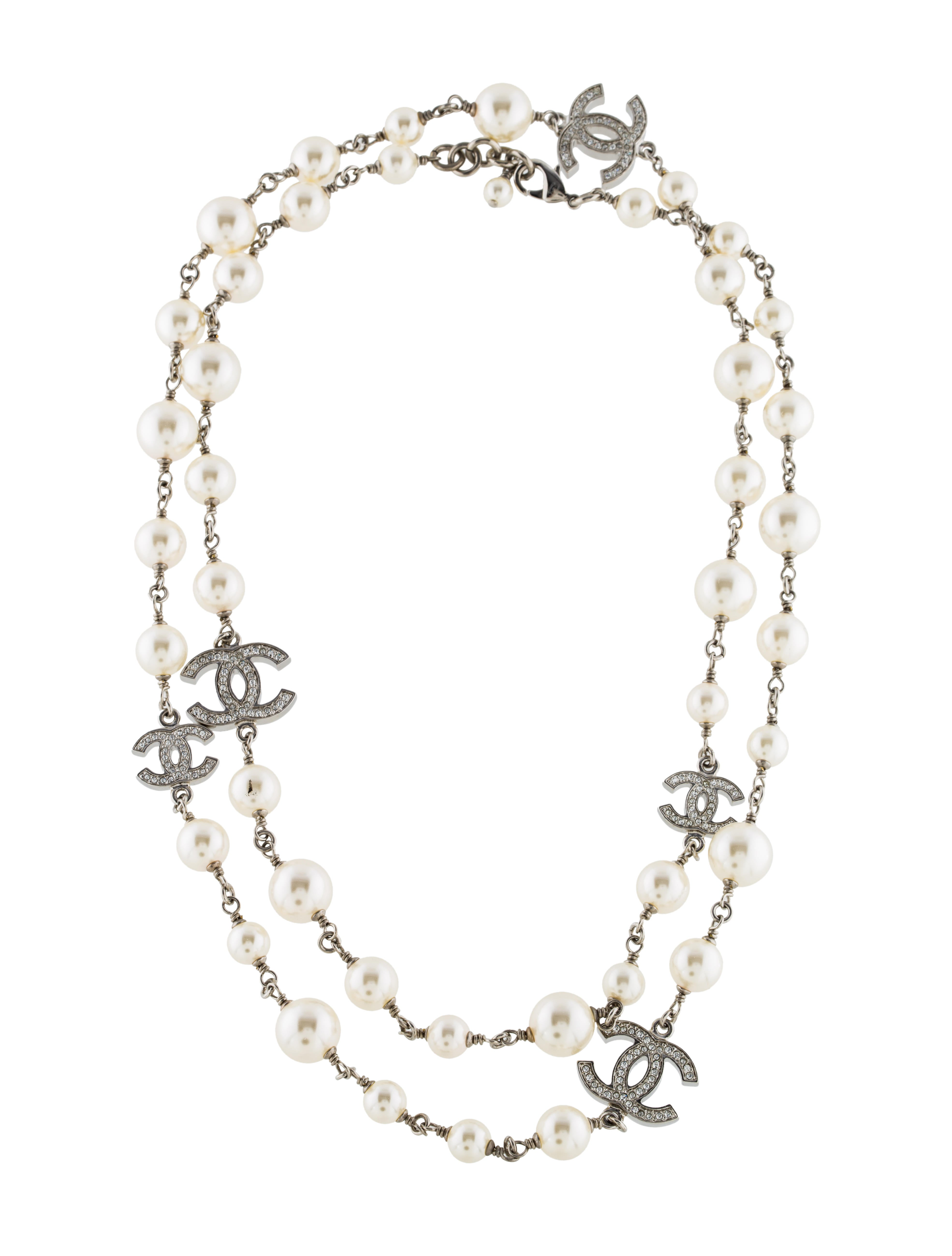 chanel cc faux pearl necklace necklaces cha173553