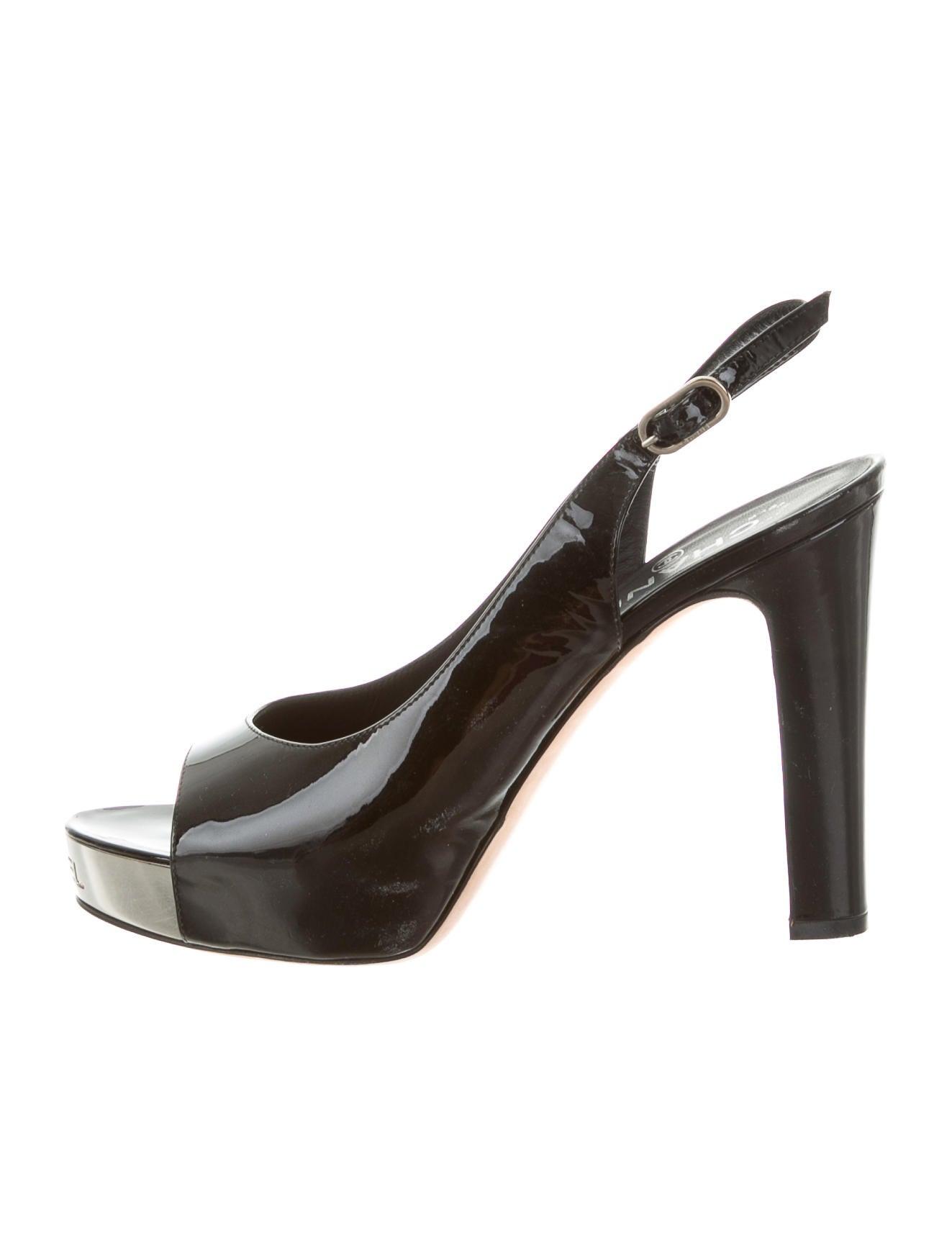 Chanel Peep-Toe Slingback Pumps - Shoes