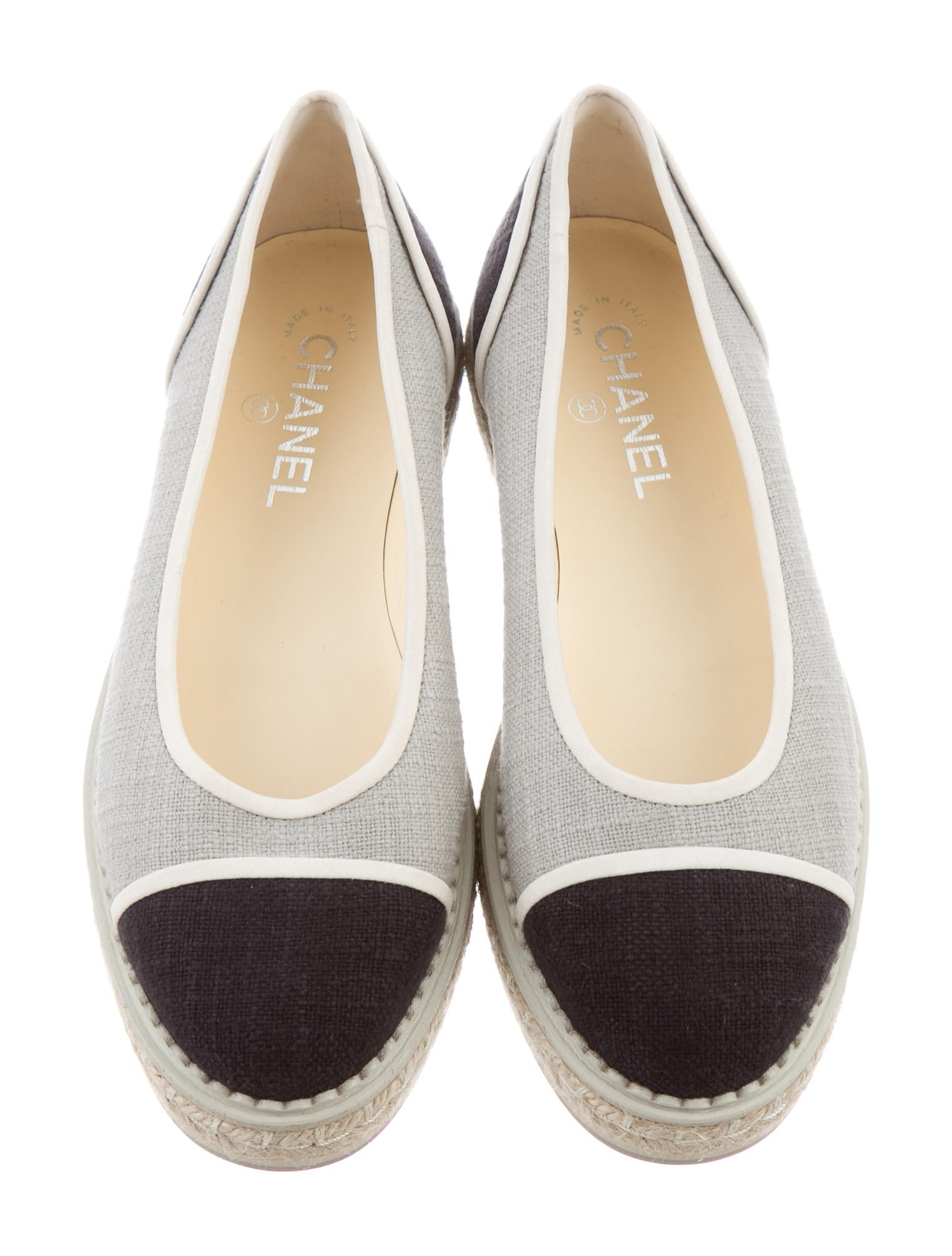 chanel canvas espadrille flats shoes cha174559 the