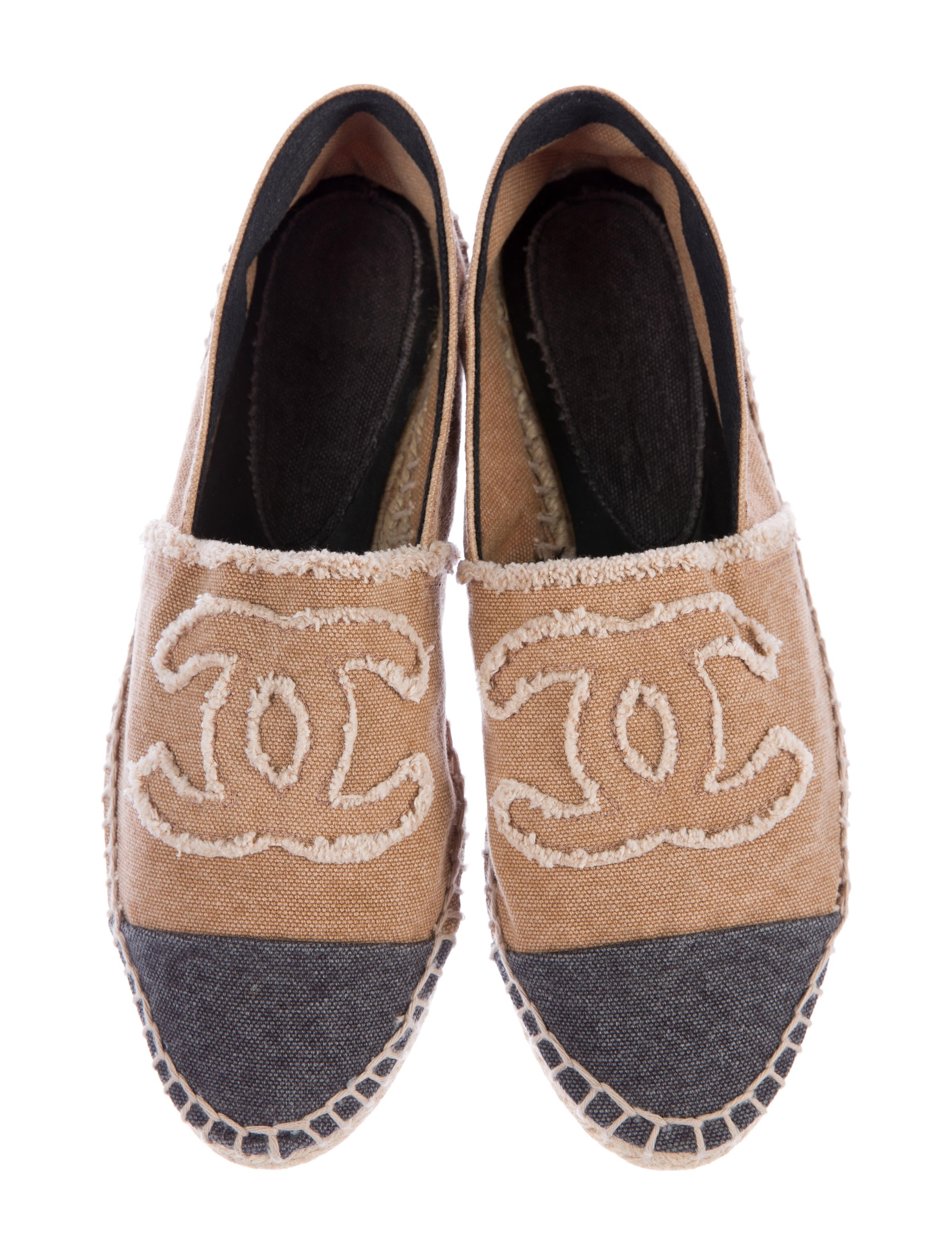 chanel canvas espadrille flats shoes cha174717 the