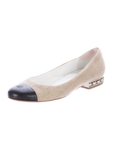 chanel 2014 canvas cc flats shoes cha174980 the realreal