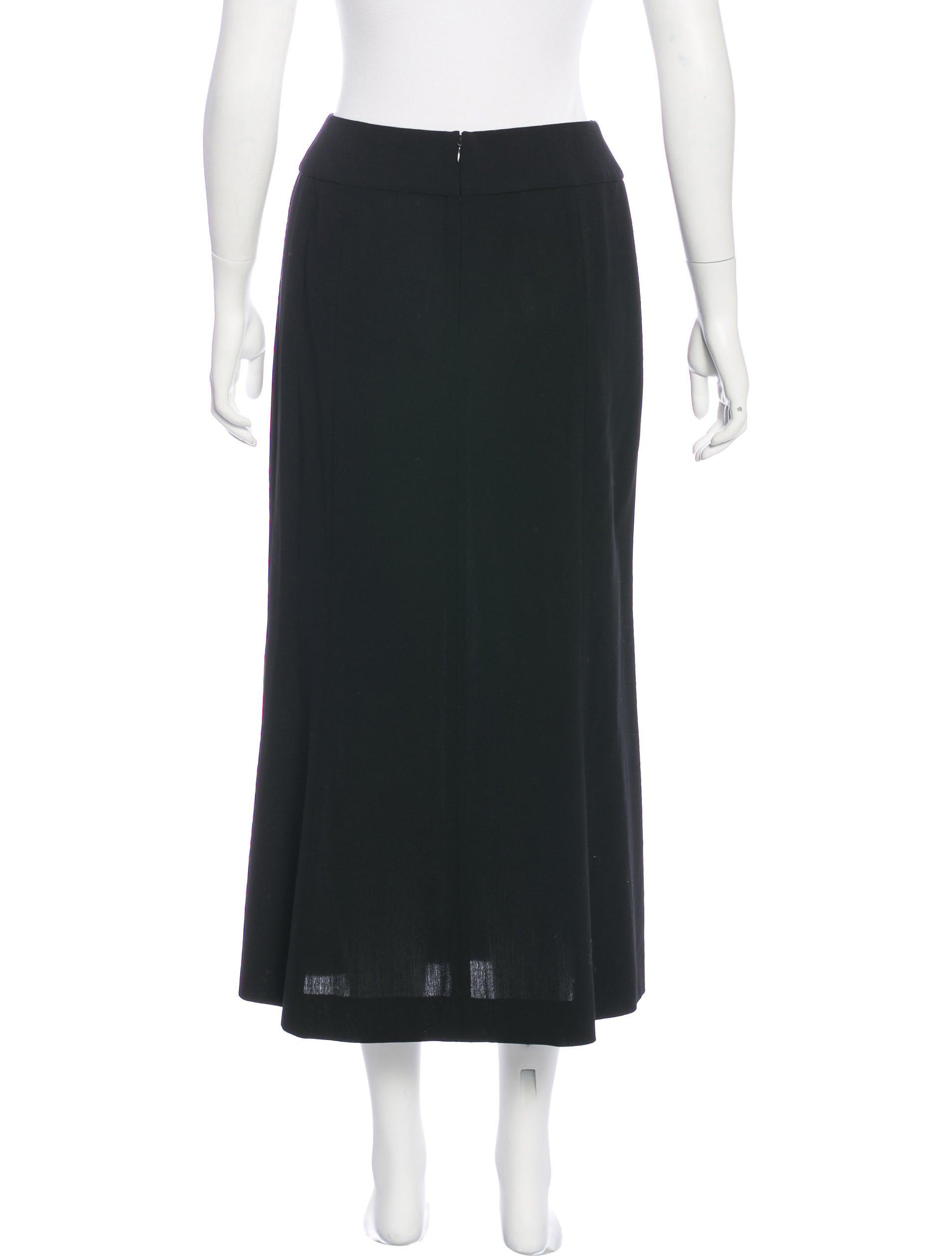 chanel wool midi skirt clothing cha176249 the realreal