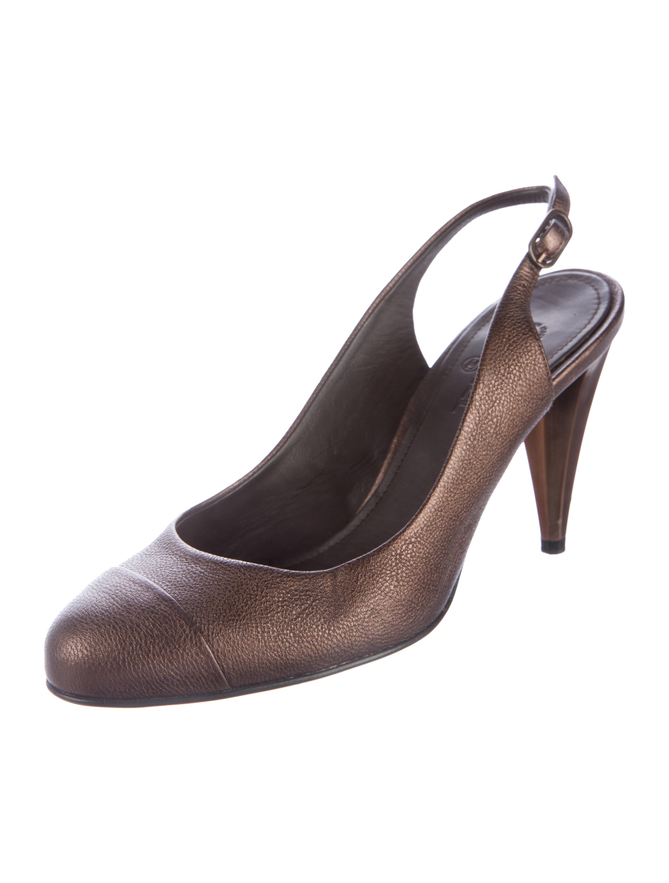 Chanel Metallic Leather Slingback Pumps - Shoes - CHA176958 | The RealReal
