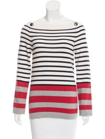 Chanel Striped Cashmere Top None
