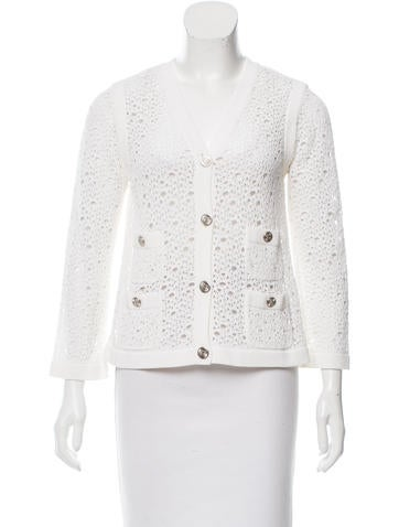 Chanel Distressed Open Knit Cardigan None