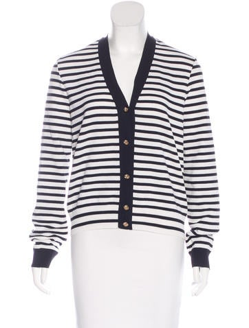 Chanel Striped Knit Cardigan None