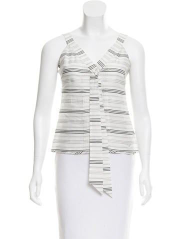 Chanel Striped Tie-Accented Top w/ Tags None