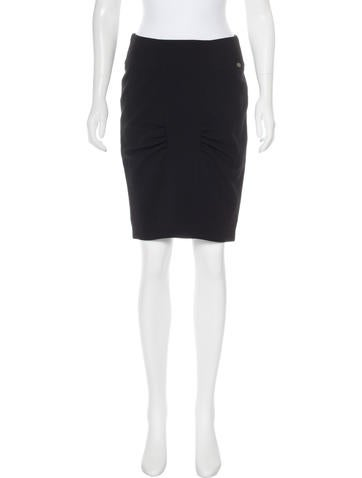 Chanel Wool Ruched Skirt None