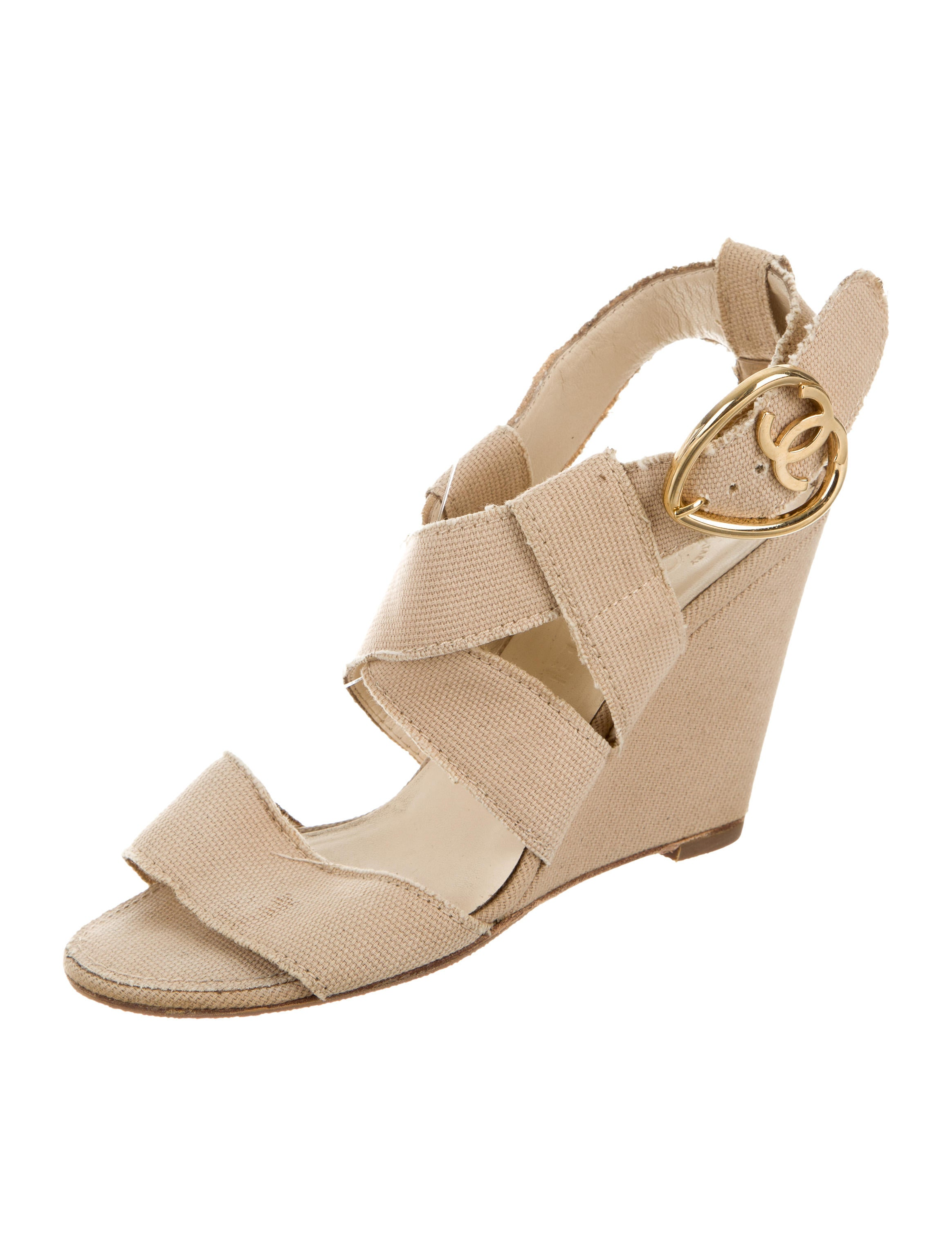 chanel canvas wedge sandals shoes cha179437 the realreal