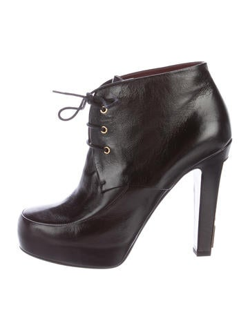 Chanel Leather Lace-Up Booties None