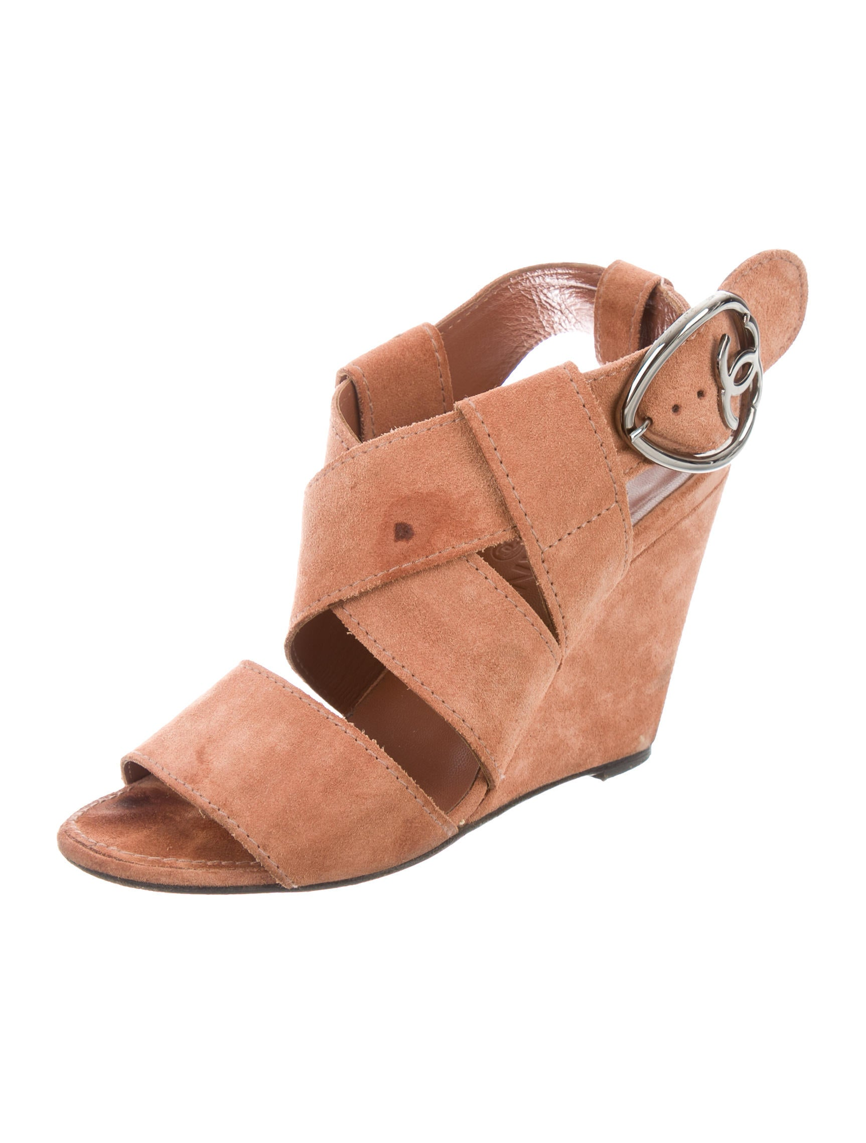 chanel suede crossover wedges shoes cha180195 the